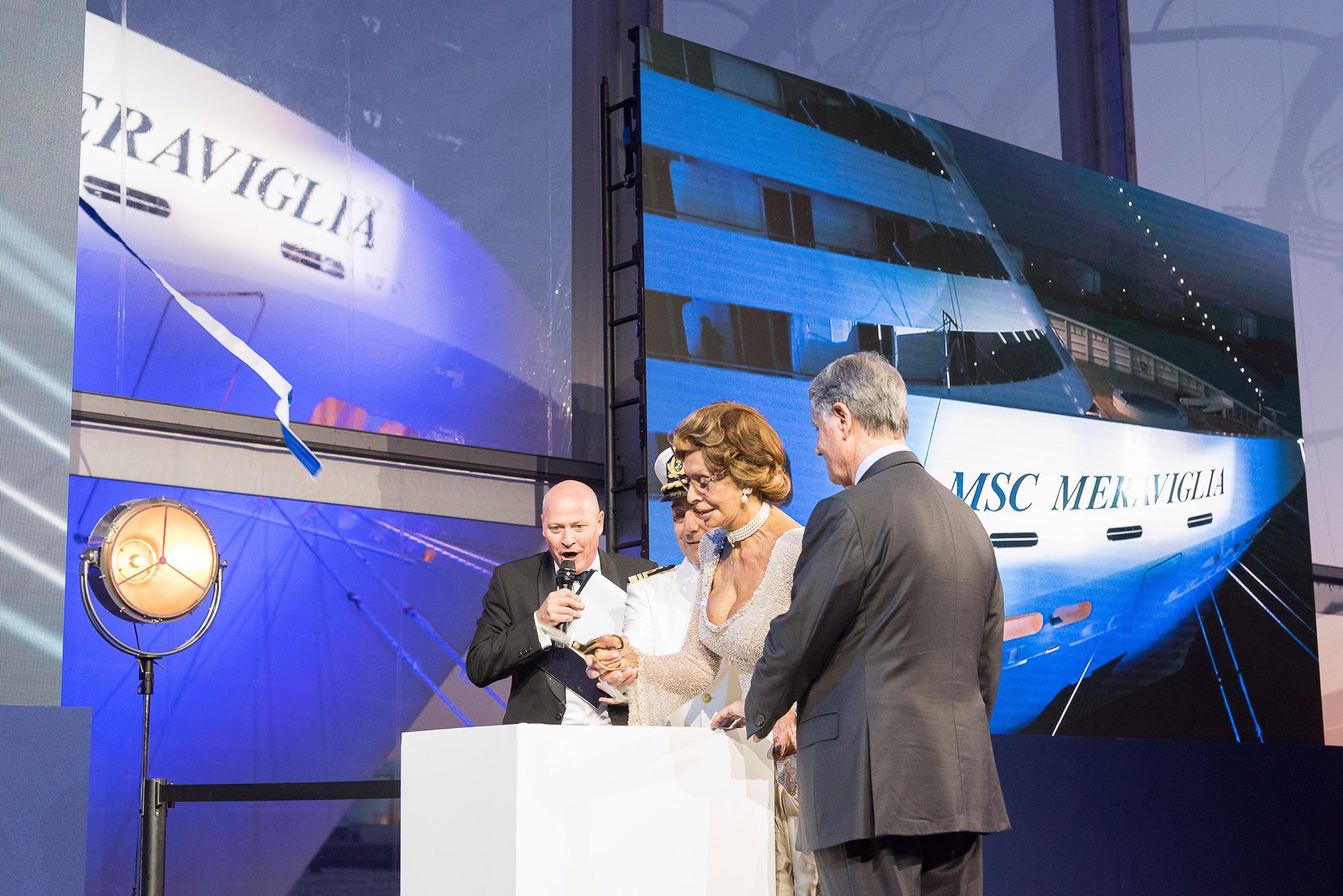 Godmother of all MSC Cruises ships, Sophia Loren, has the distinct honor of cutting the ribbon to christen MSC Meraviglia.