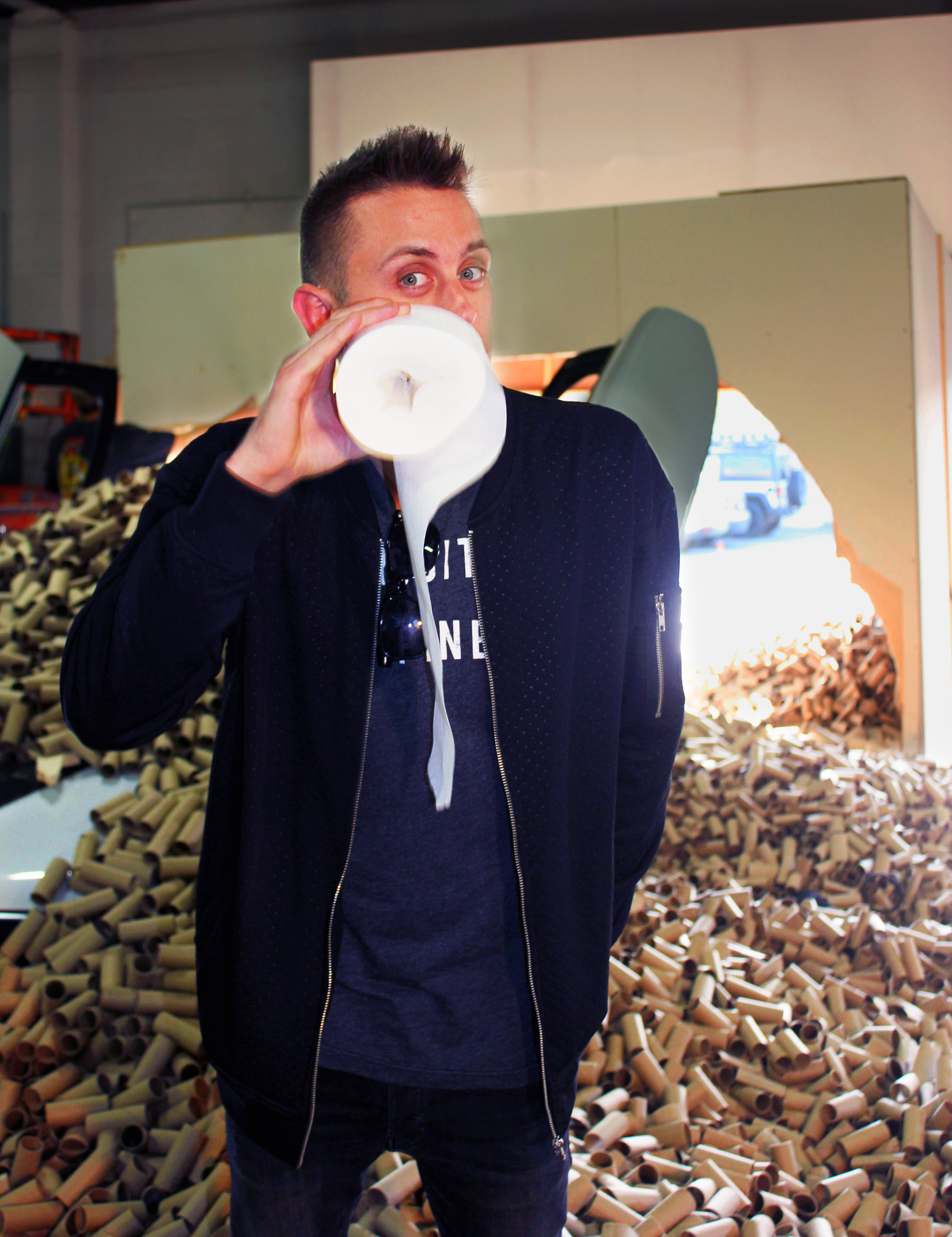 The video created by the toilet paper brand and stuntman captures the truly shocking fact that 66,000 tubes used in the stunt, the number of tubes that Americans use in just over two minutes in a highly visual and fun way.