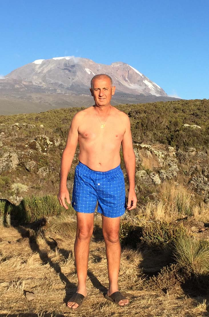 John Loussia bares his blues for prostate cancer research at Mt. Kilimanjaro