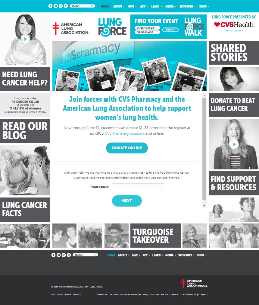 Image of LUNGFORCE landing page that encourages CVS Pharmacy customers to donate online to support women's lung health.