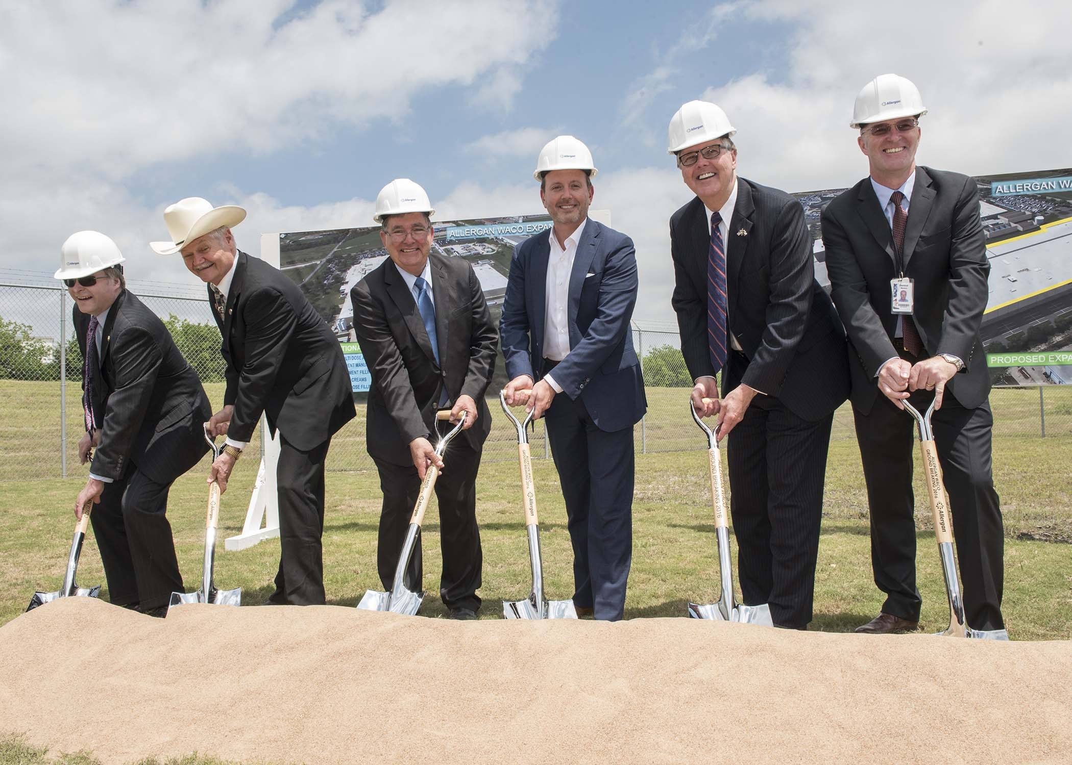 "Allergan executives and elected officials break ground on Allergan's $200 million expansion of the Company's Waco, Texas Facility. (From Left to Right): Texas State Senator Brian Birdwell (R-22); Texas State Representative Charles ""Doc"" Anderson (R-56); U.S. Congressman Michael Burgess (TX-26); Allergan President & CEO Brent Saunders; Texas Lieutenant Governor Dan Patrick; Allergan Vice President & General Manager of Operations Dermot Manton."