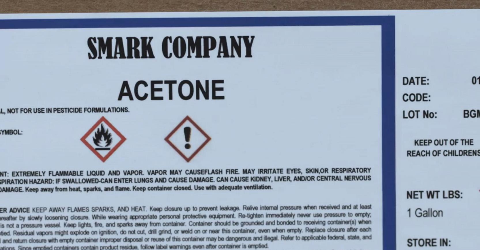 Smark Company Acetone Label Close-up Sample