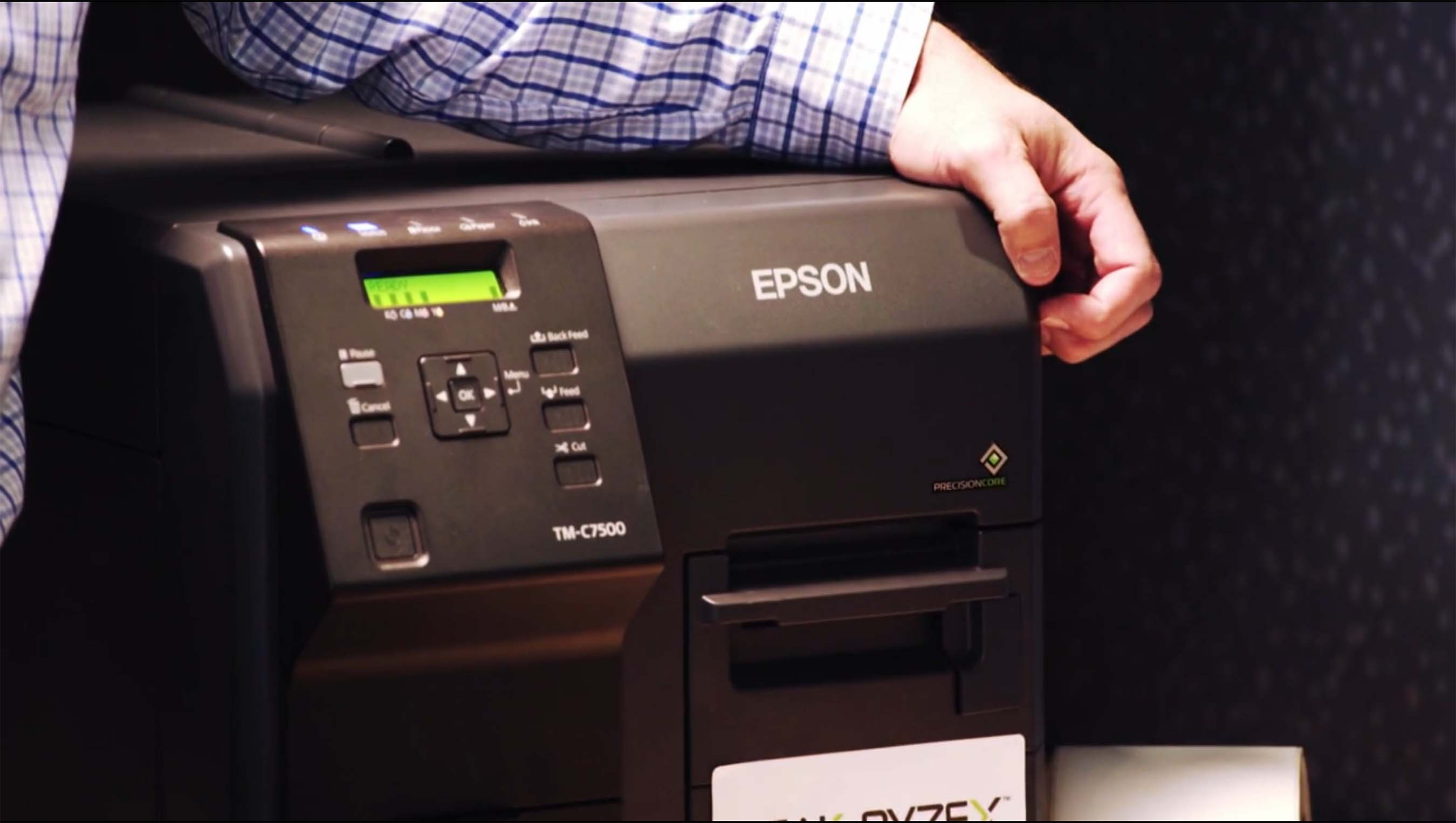 A close up of Millstone Medical's Epson's ColorWorks C7500G inkjet label printer