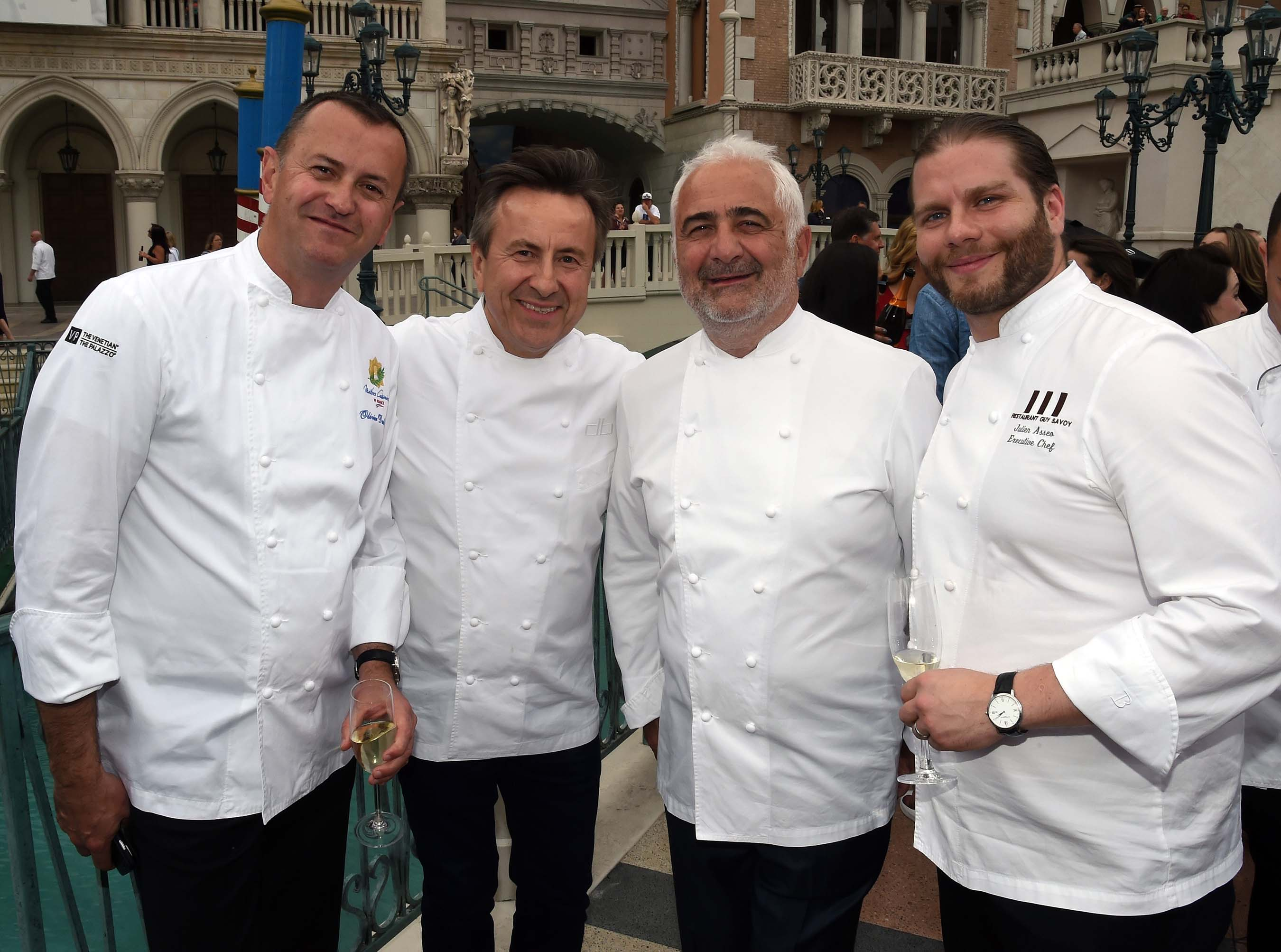 Olivier Dubreuil, Daniel Boulud, Guy Savoy and Julien Asseo during Saber Off at Vegas Uncork'd by Bon Appétit presented by Chase Sapphire Preferred (Ethan Miller/Getty Images for Vegas Uncork'd)