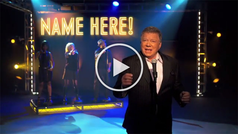 Send your friends an unforgettable greeting with a personalized song sung by William Shatner!