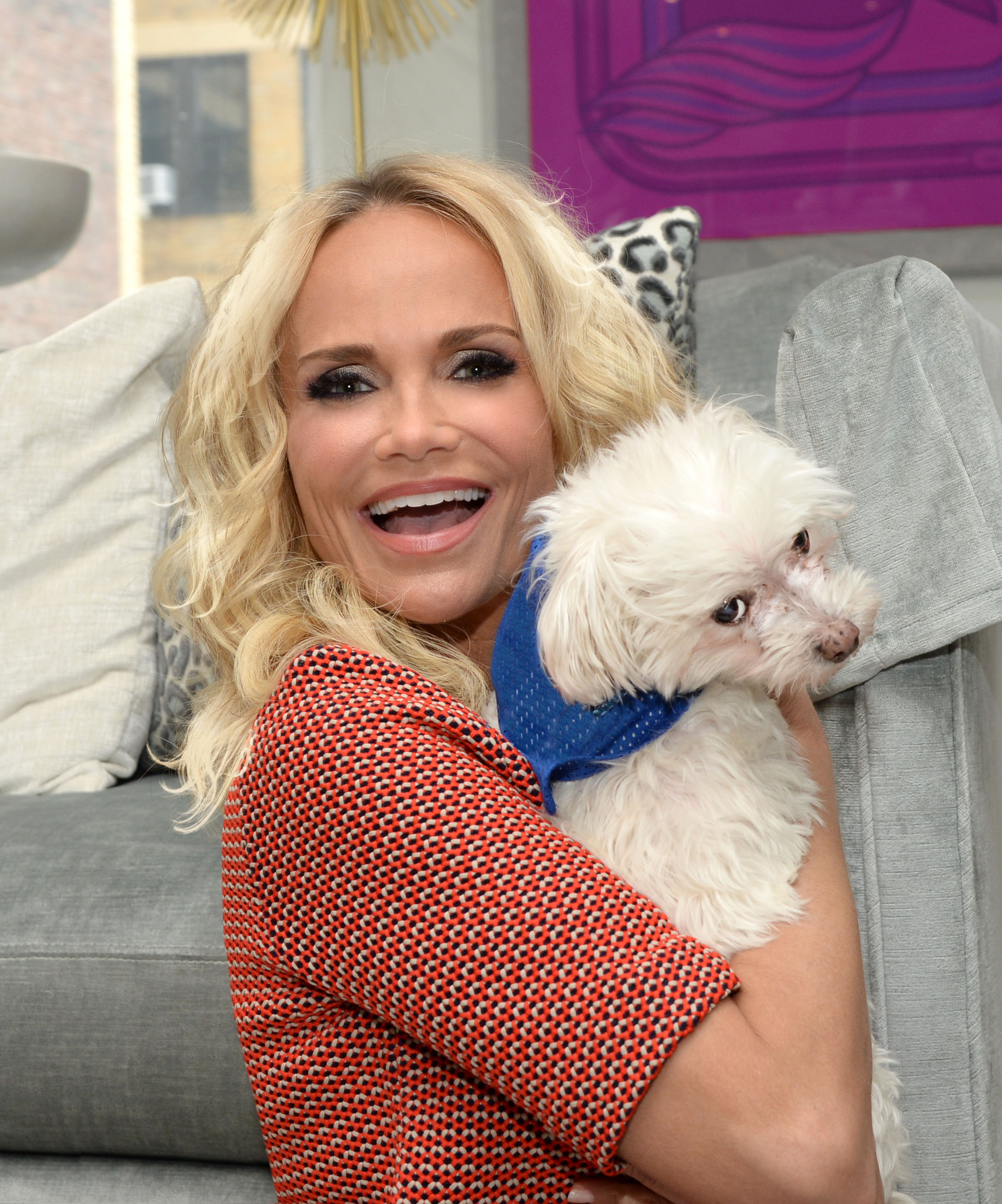 Kristin Chenoweth, actress, musician and spokesperson for the Mars Petcare Mix Mania campaign, poses with her dog Maddie. Chenoweth has joined the Mix Mania madness lending her voice to a series of hysterical voiceovers that will be used to remix dogs' freakouts. So dogs, get your tails waggin' and owners just MIX IN & LOOK OUT!