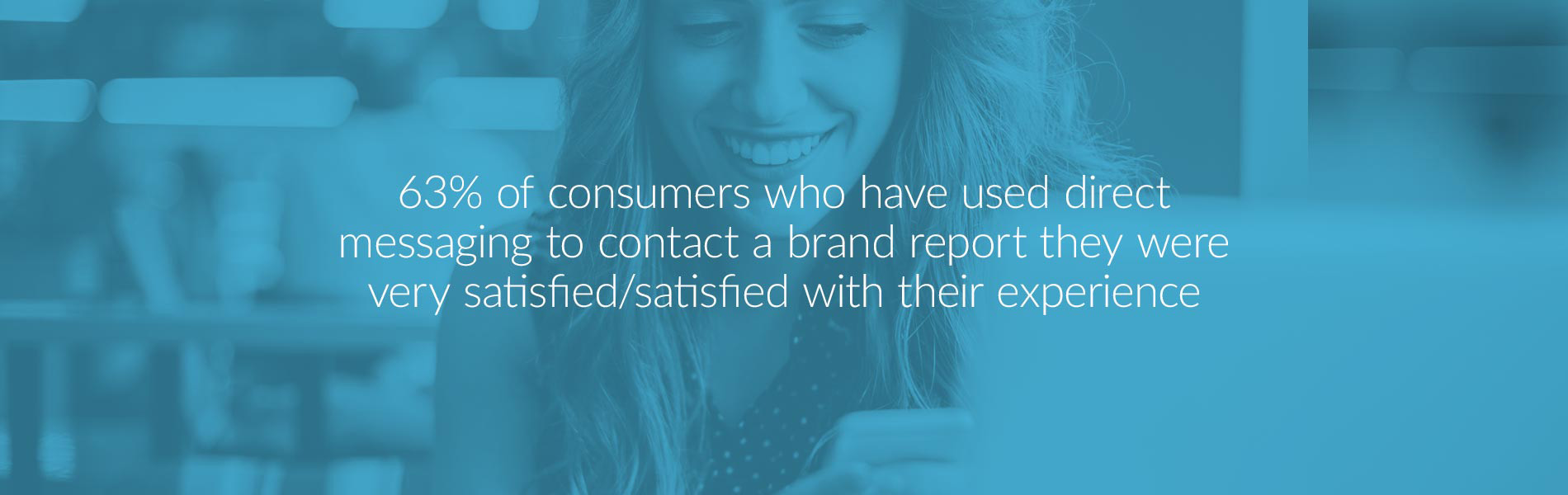 63% of consumers who have used direct messaging to contact a brand report they were very satisfied/satisfied with their experience.