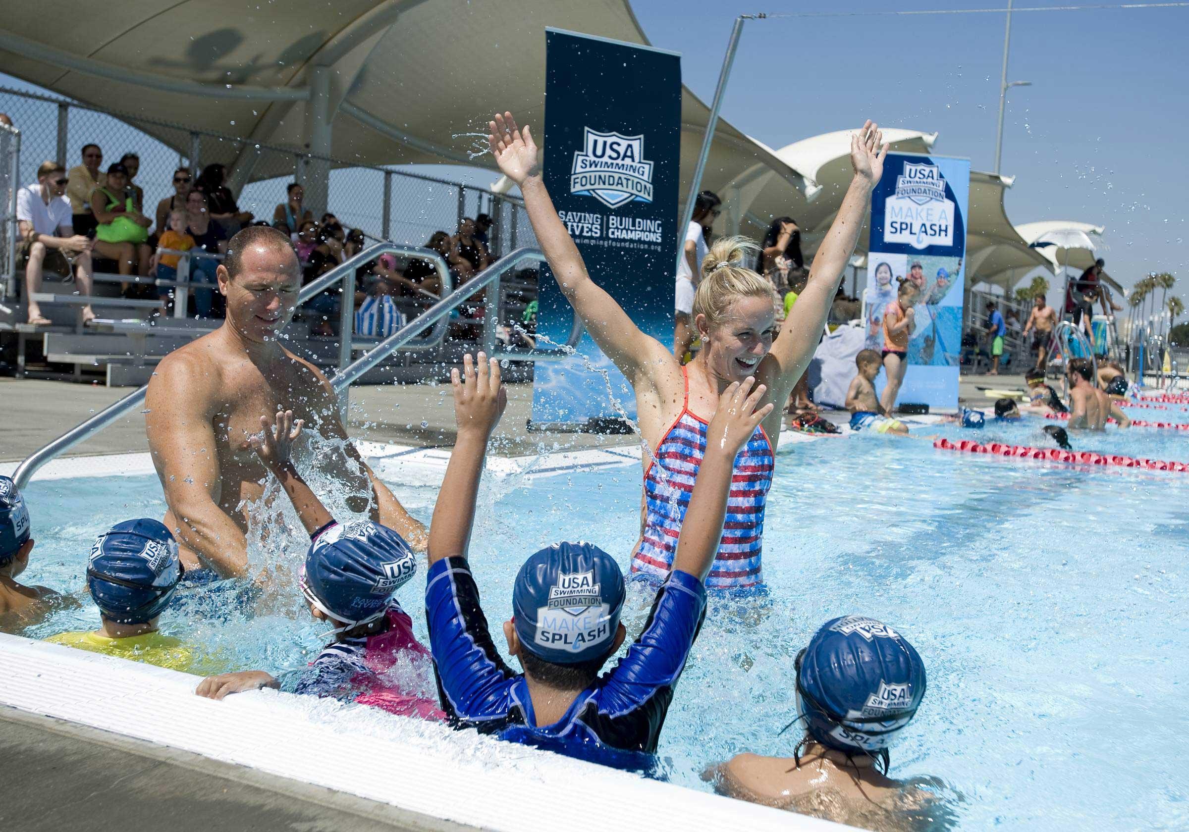 August 2, 2016, Long Beach, CA. Olympic Ambassadors Jessica Hardy and Jason Lezak kick off USA Swimming Foundation's first-ever Make a Splash Games.