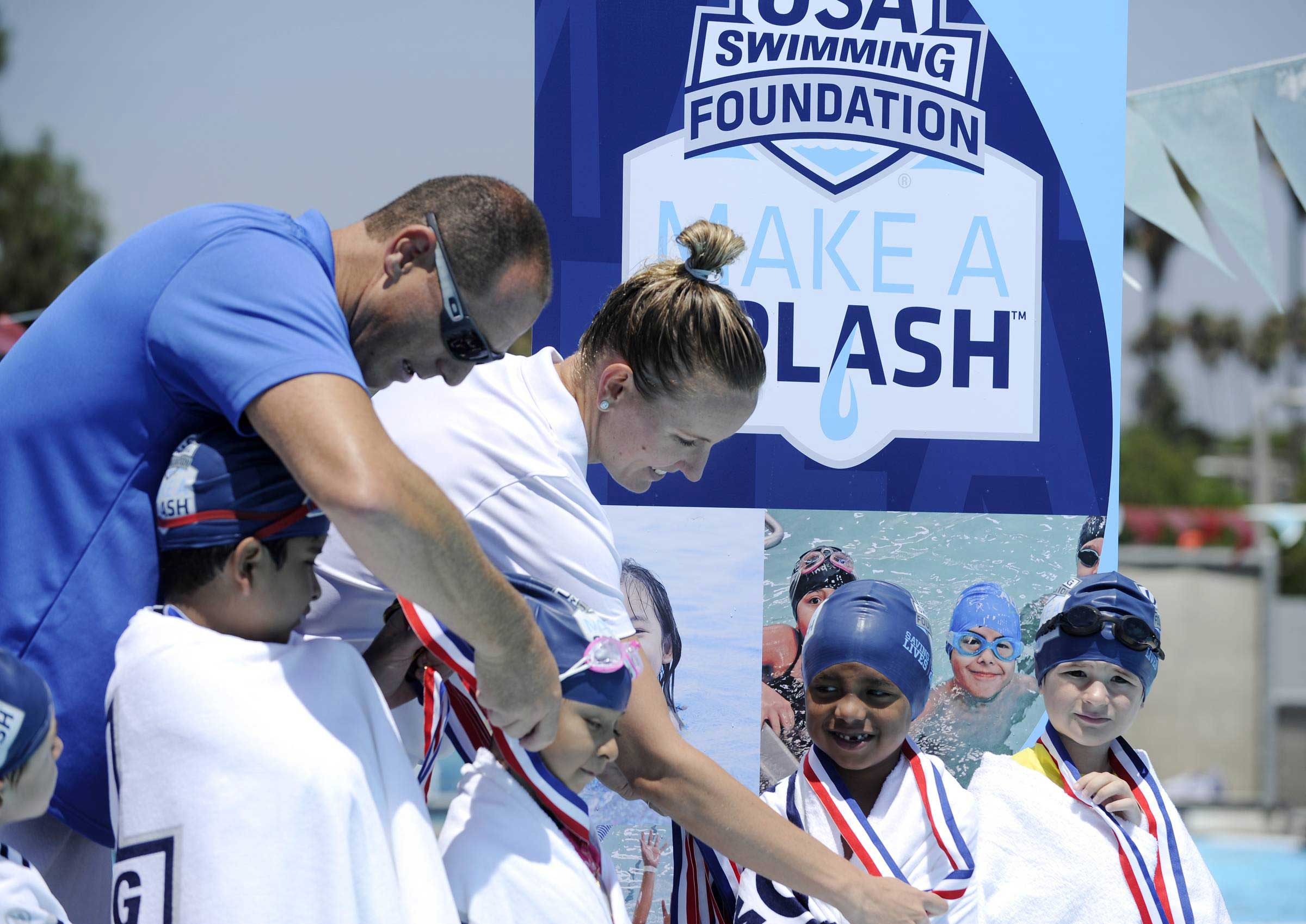 August 2, 2016, Long Beach, CA. Medal presentation with Olympians Ambassadors Jessica Hardy and Jason Lezak at USA Swimming Foundation's first-ever Make a Splash Games.