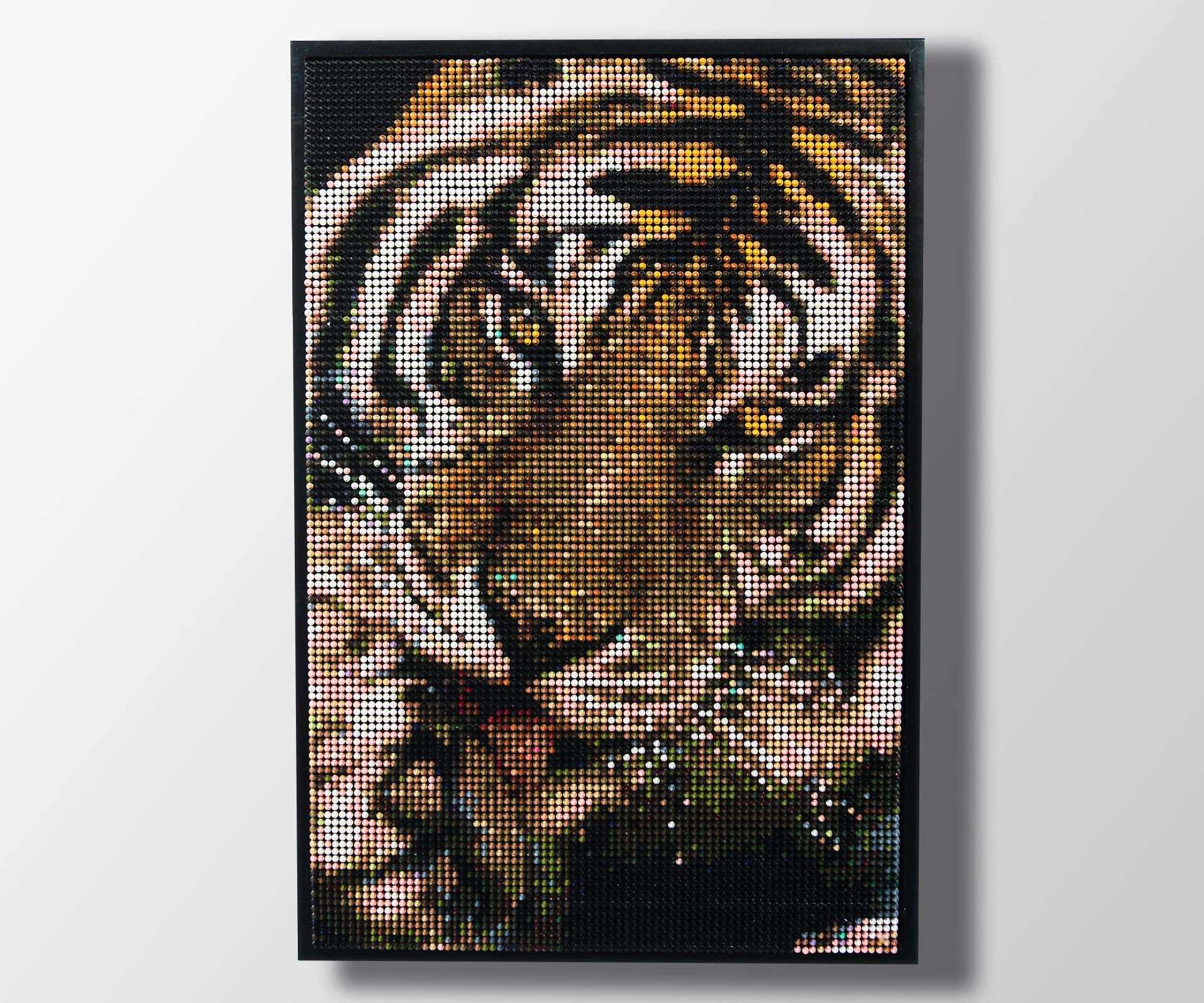 """Colorwork """"Tiger Pause"""" used as room décor"""