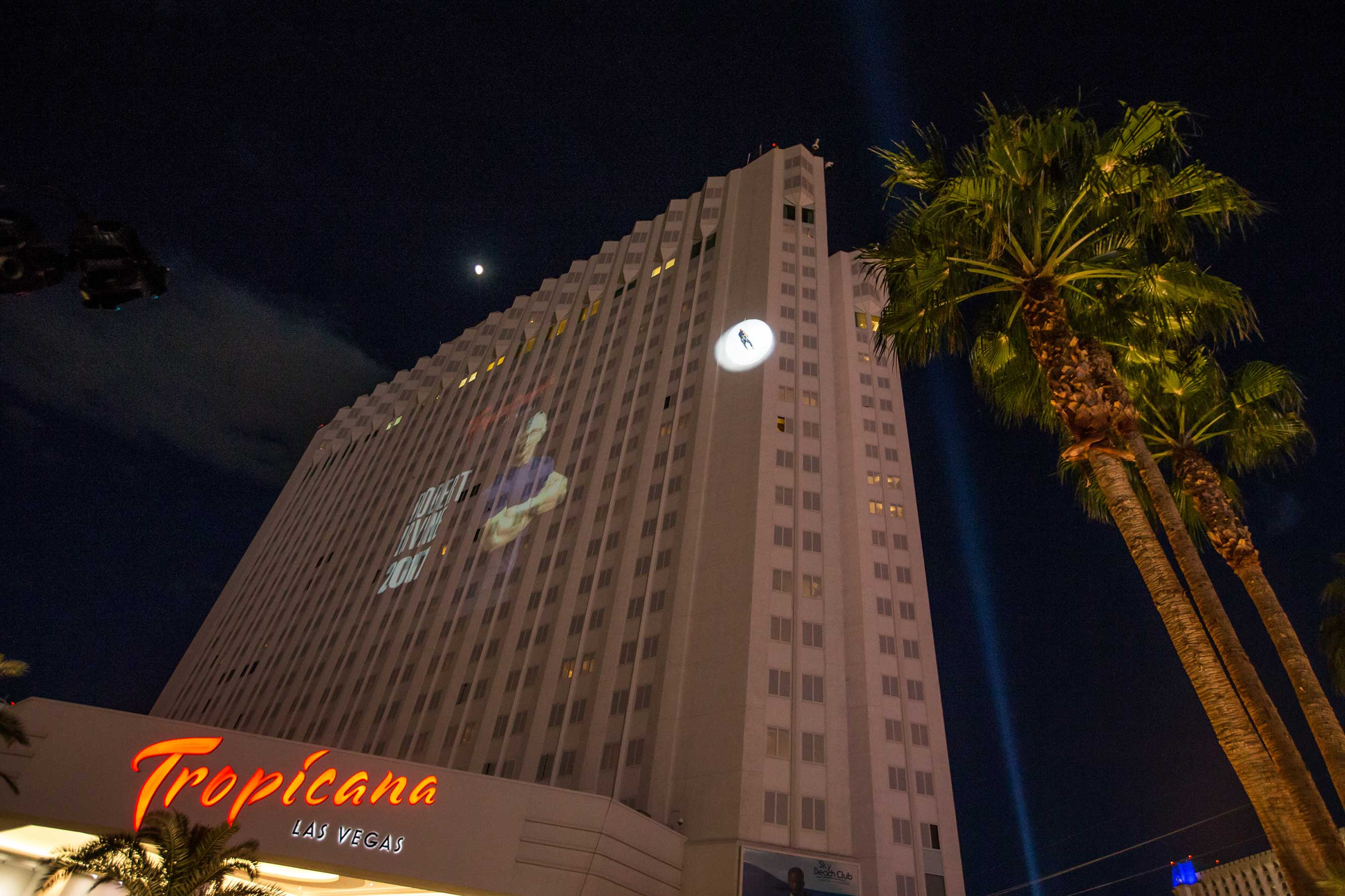 Chef Irvine rappels 22 stories (220 feet) down the exterior of the Tropicana hotel      Credit: Erik Kabik Photography/ MediaPunch