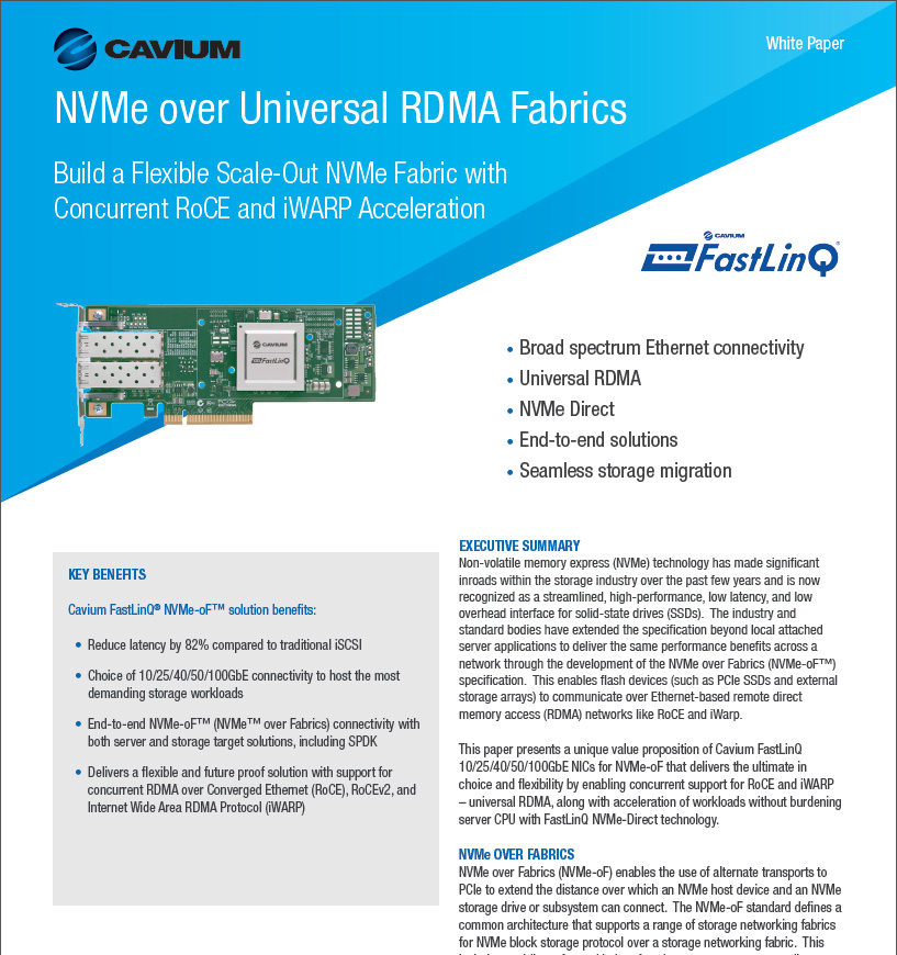 Cavium Unveils Industry's Most Advanced 10/25/40/50Gbps Ethernet NIC
