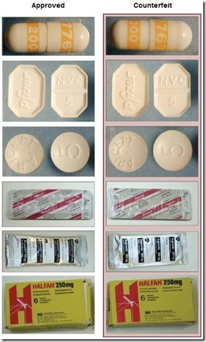 Genuine drugs (left) and counterfeit drugs (right) look identical