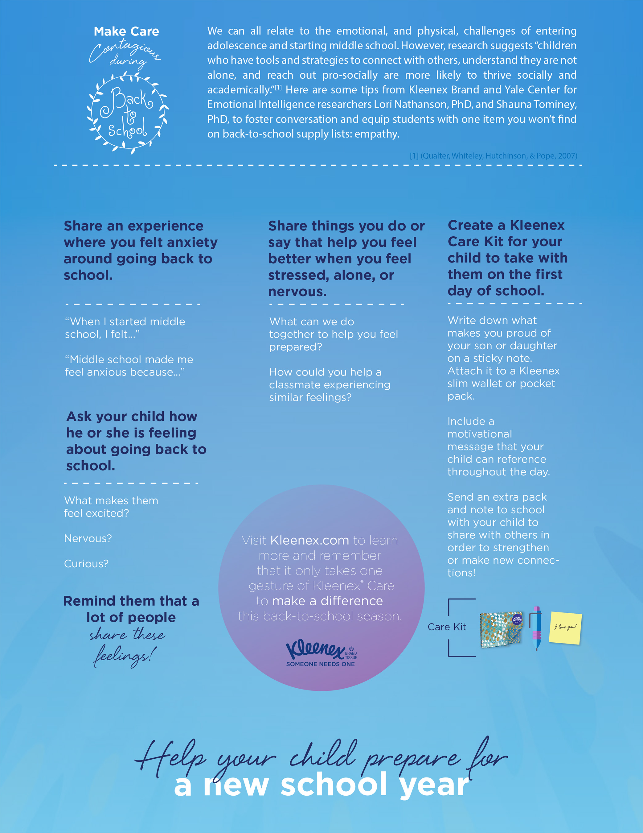 Kleenex® brand and Yale researchers share tips to help children prepare for a new school year.