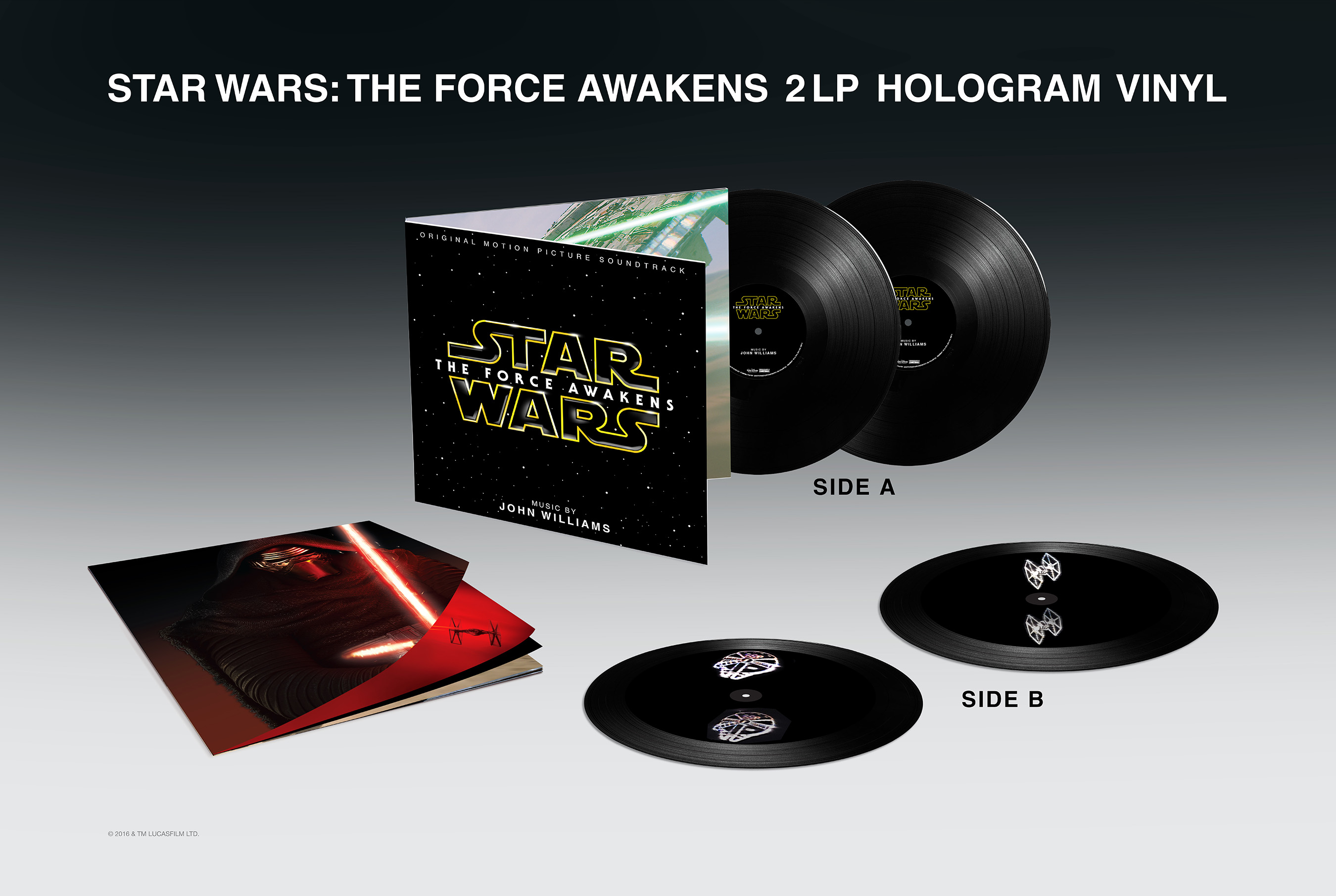 Star Wars: The Force Awakens Soundtrack 2 LP Hologram Vinyl with title