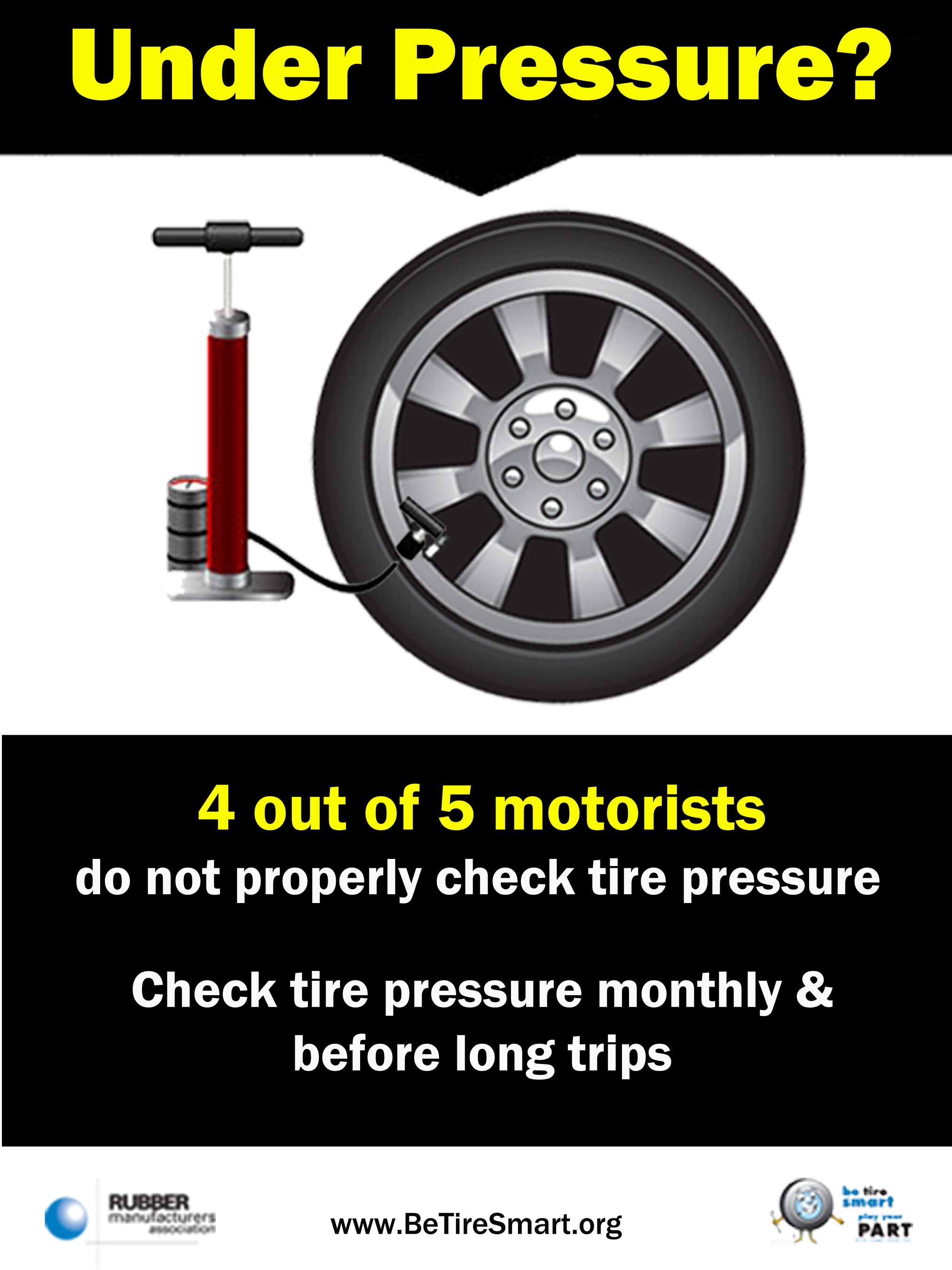 Check tire pressure monthly & before long trips