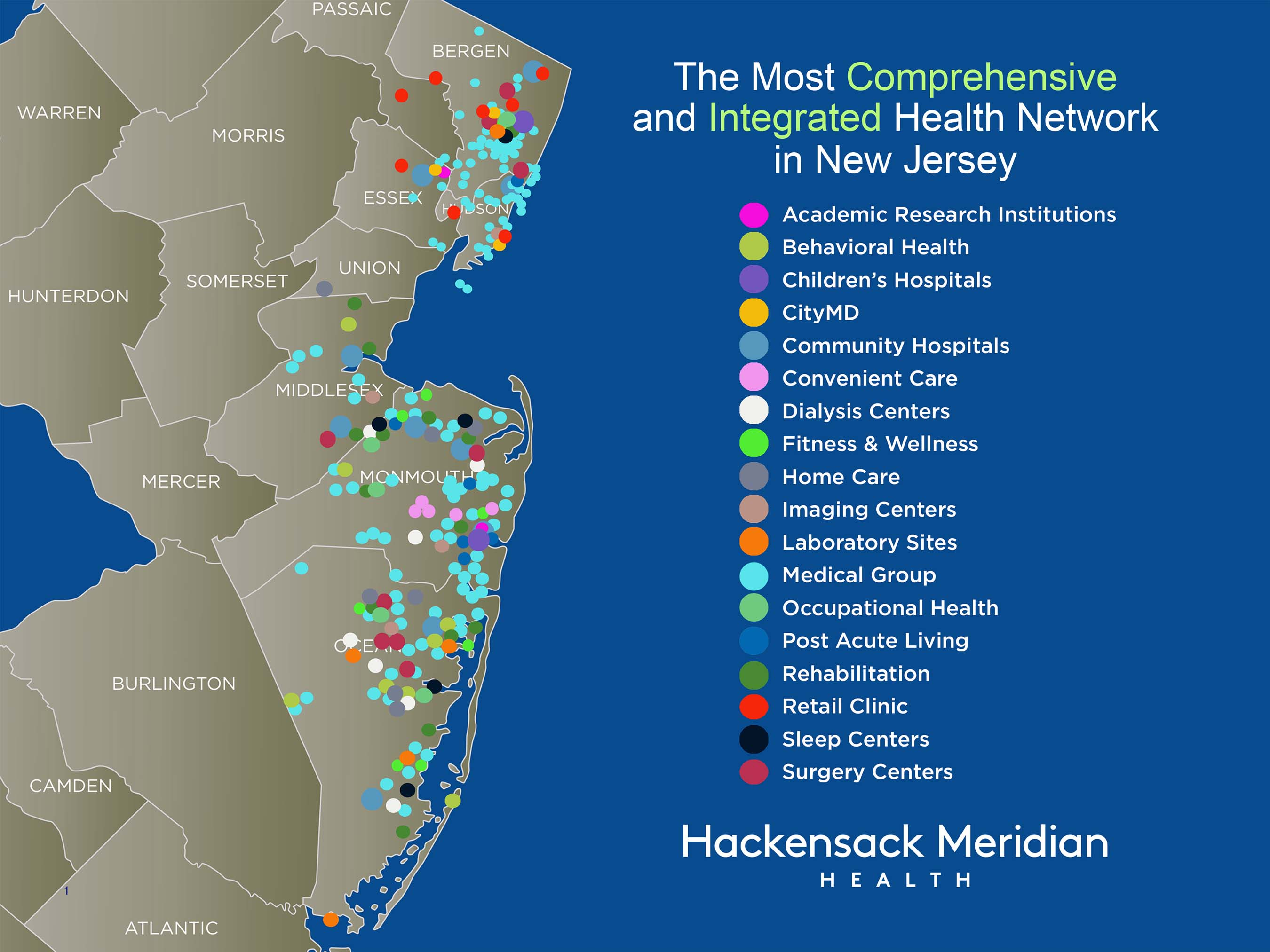 Hackensack Meridian Health will serve a much broader geography, expanding access to top specialists and services — Over two-thirds (70%) of the statewide population is within 15 miles of one or more Hackensack Meridian Health facilities — Approximately 95% of the population within our market (almost six million people) can reach a service location in 20 minutes or less