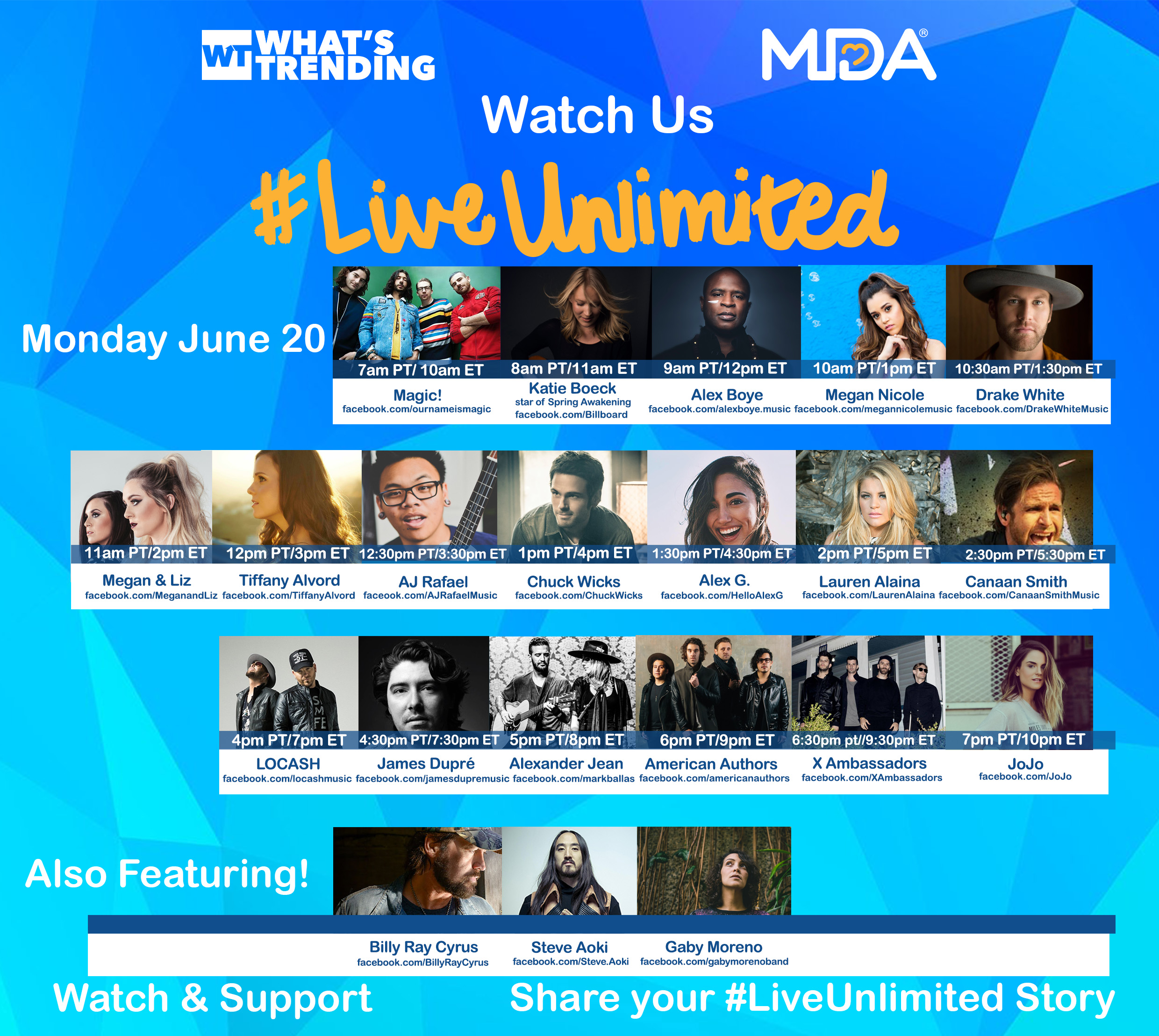 MDA Live Unlimited campaign kicks off today with a 12-hour celebration of music