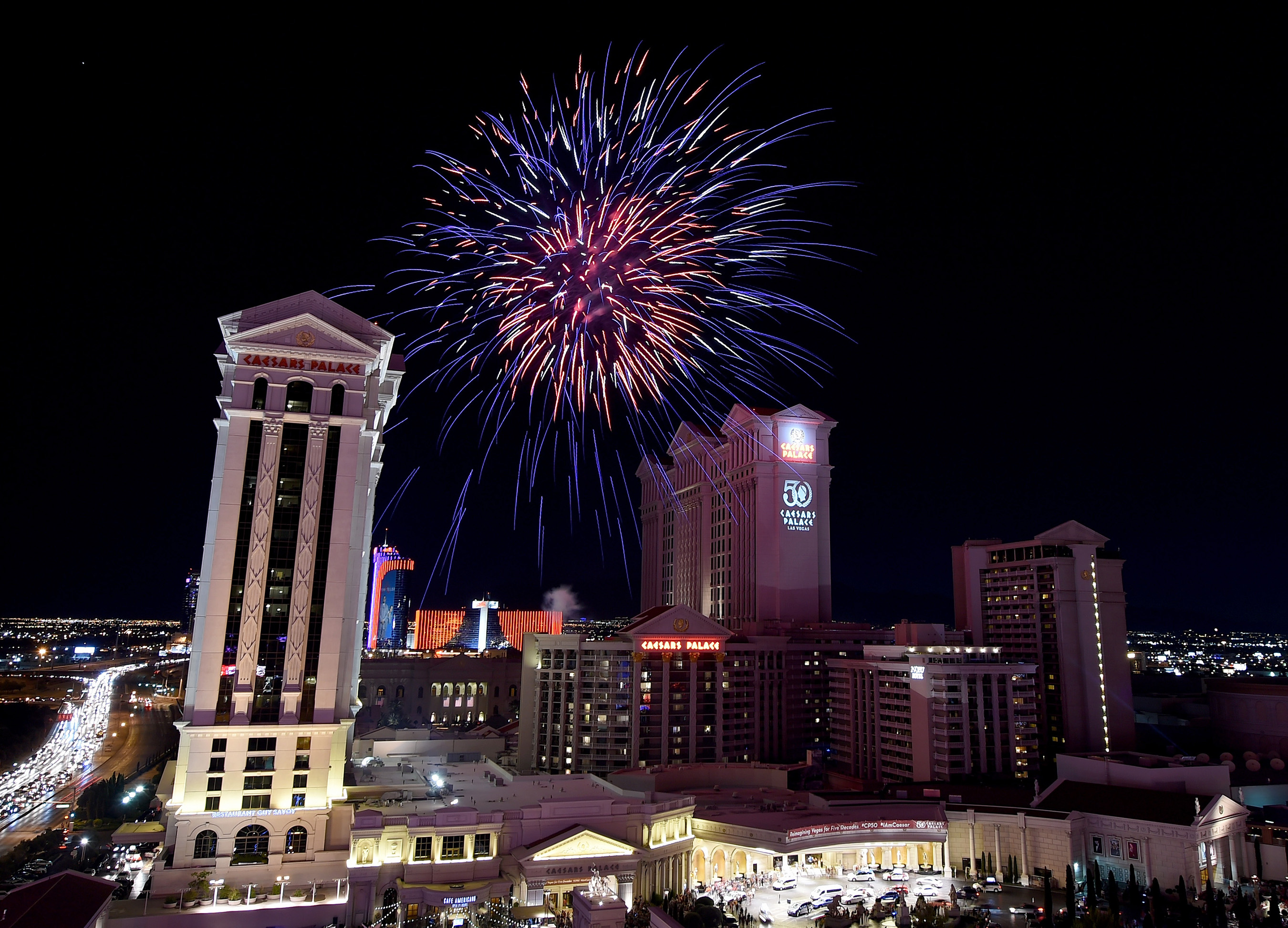 The 50th Anniversary celebration of Caesars Palace continues with an Independence Day Weekend fireworks extravaganza. Photo Credit: Ethan Miller/Getty Images