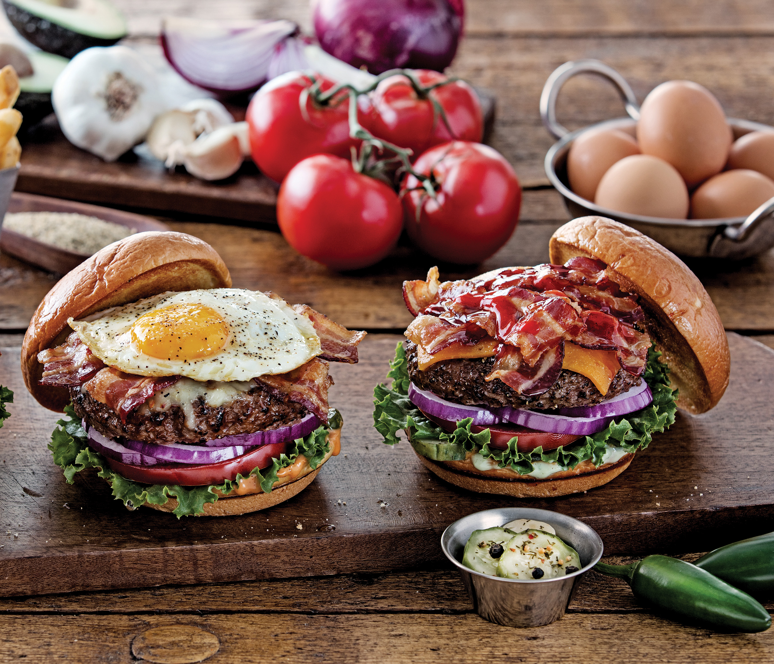 Chili's adds two new burgers, both available with a 100% grass-fed patty. The Sunrise Burger features a cage-free egg on top.