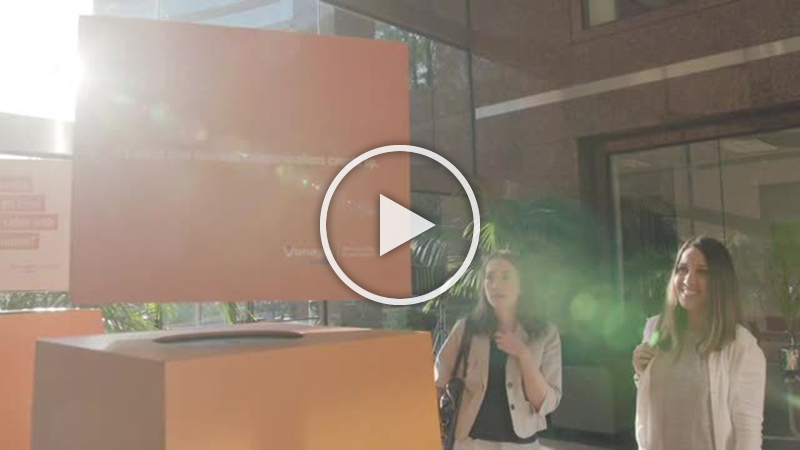 B-roll footage of hover billboards at Vonage Business Tech Takeover