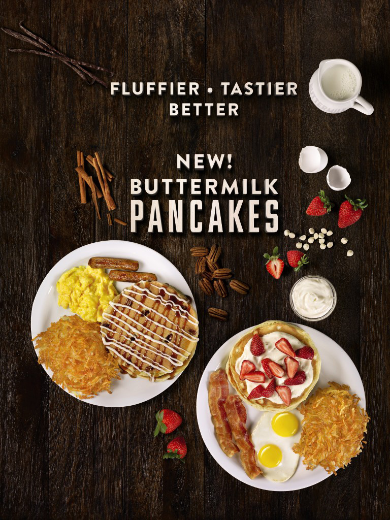 Denny's New Buttermilk Pancakes, Packed with Fresh Ingredients Such as Real Eggs, Fresh Buttermilk and a Hint of Vanilla