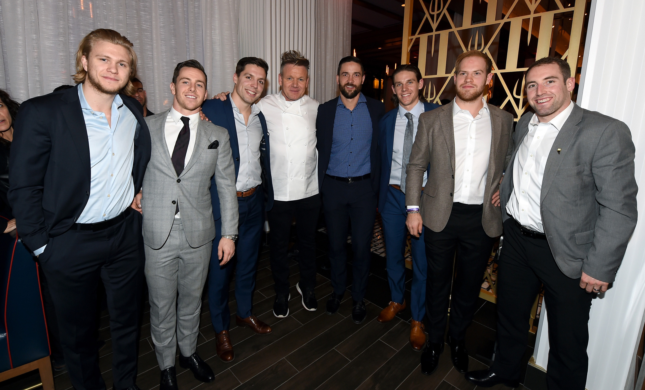 NHL players from Vegas Golden Knights team join Chef Gordon Ramsay to celebrate the grand opening of the world's first Gordon Ramsay HELL'S KITCHEN restaurant at Caesars Palace in Las Vegas.