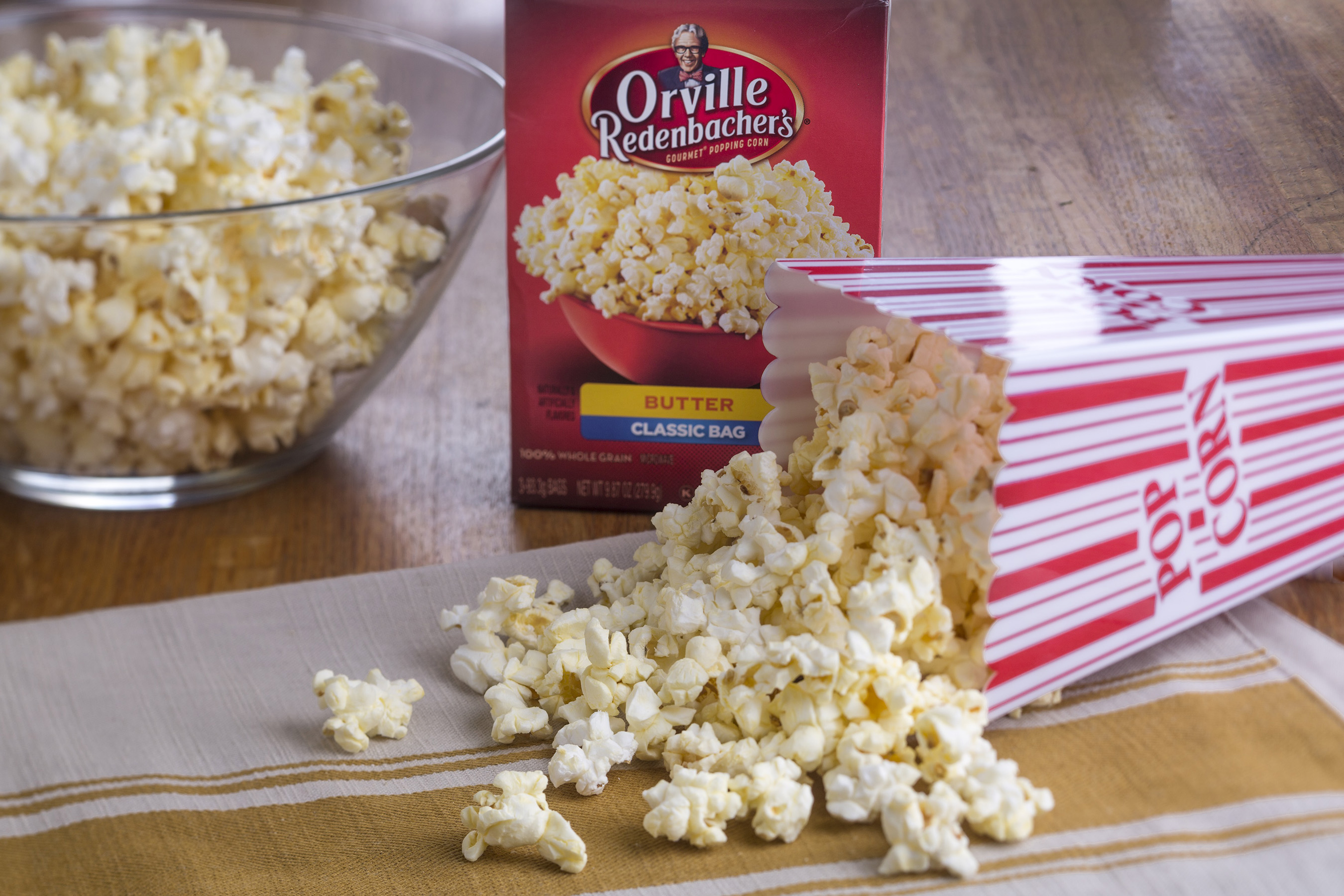 As the only leading microwave popcorn brand that uses real butter in many of its products, Orville Redenbacher's can be enjoyed on its own or serve as the main ingredient in a delicious recipe.