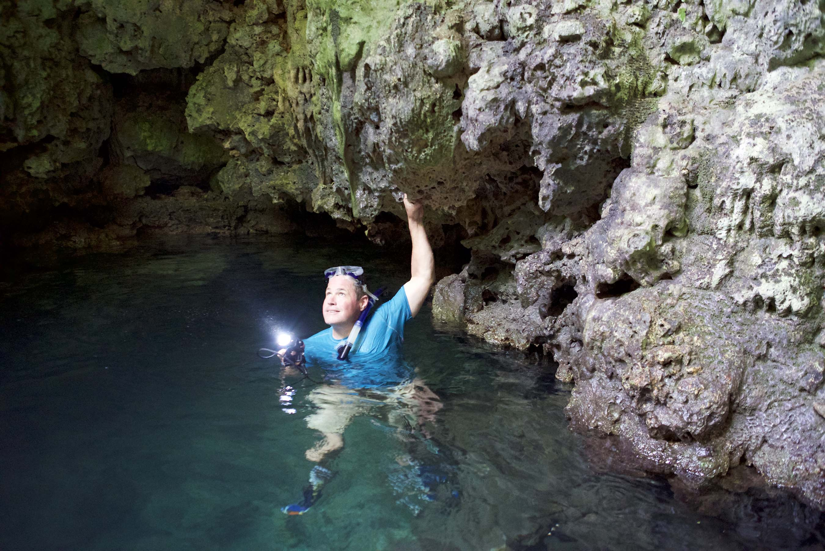 Jeff Corwin exploring caves for amber in Puerto Plata, Dominican Republic