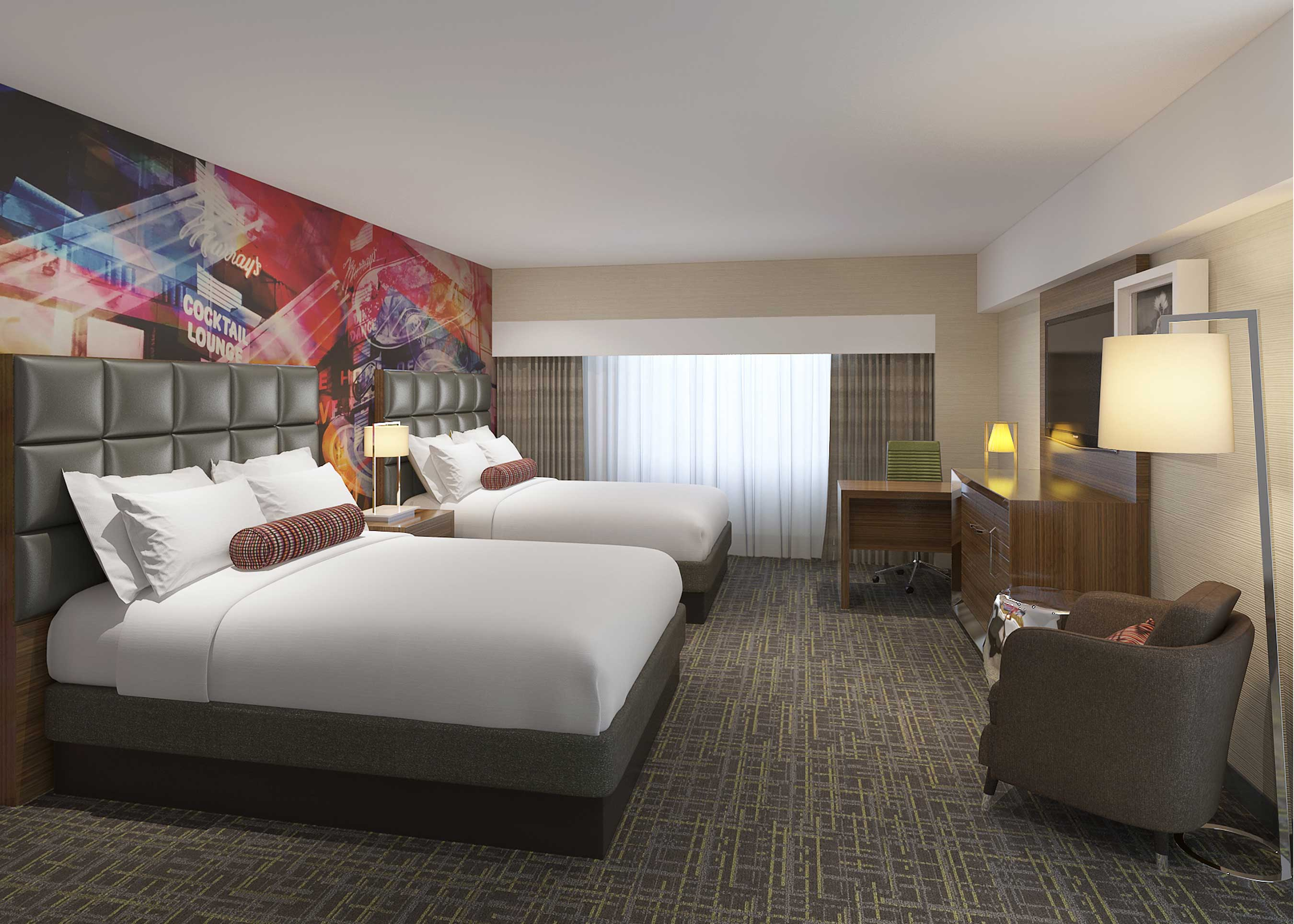 "Embracing a playful design aesthetic, guestrooms at Circus Circus Reno are being completely remodeled and are inspired by ""The Greatest Show on Earth."""