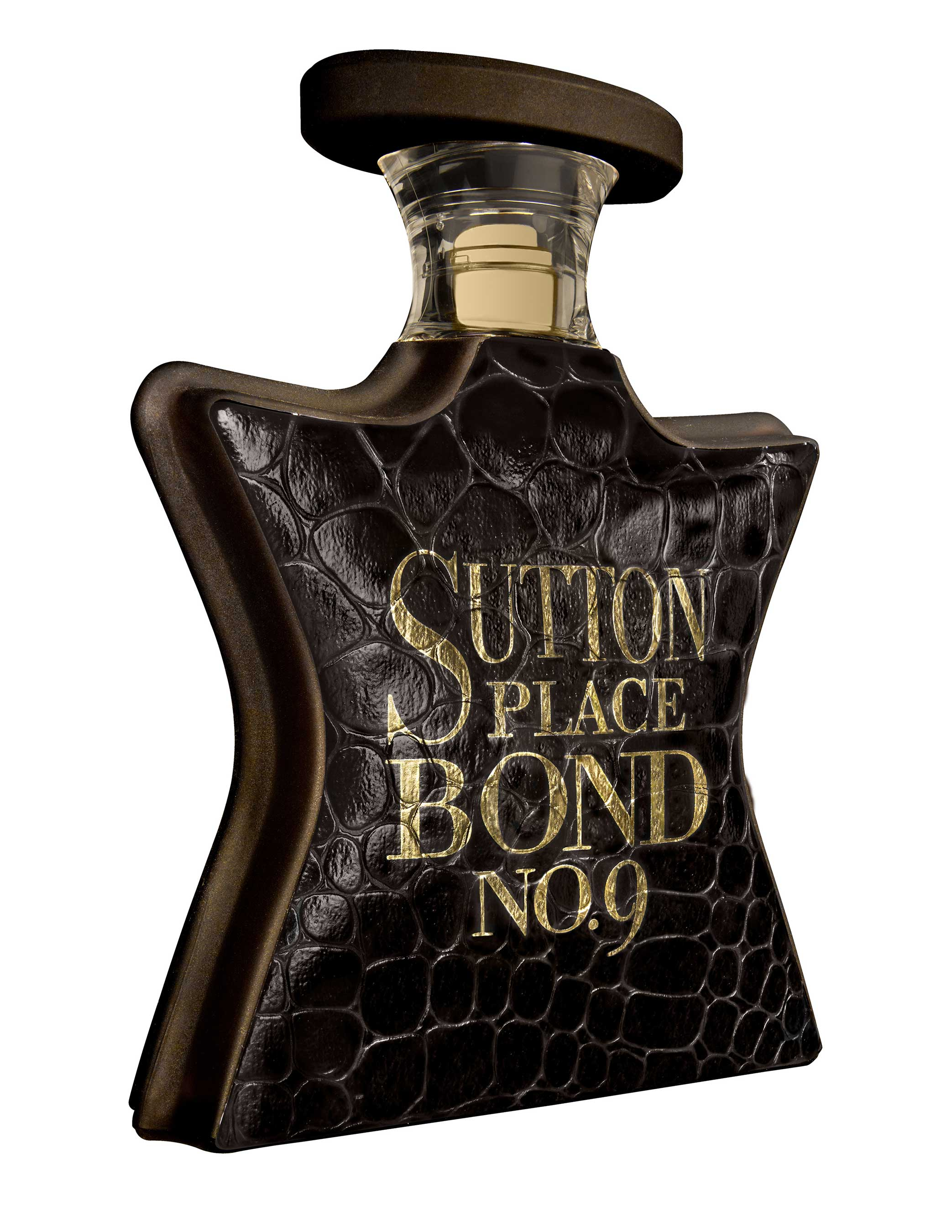 The Sutton Place bottle is the first in the Bond No. 9 repertory to be colored brown — a deep, rich cigar-toned maduro brown, with a touchable texture reminiscent of reptile skin.