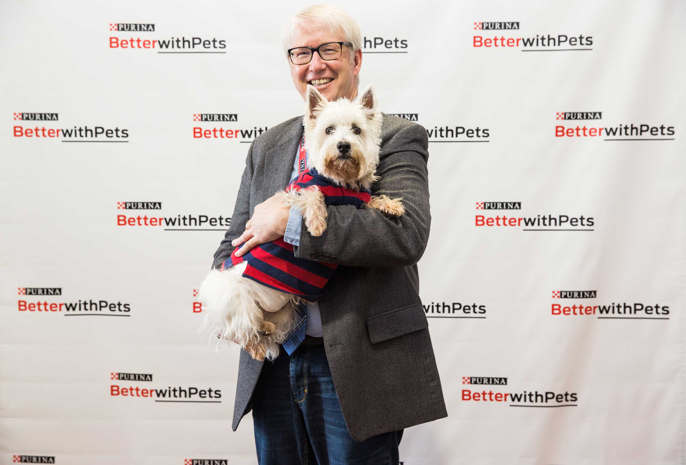 America's Veterinarian, Dr. Marty Becker, with special guest Preston. Dr. Becker shared veterinary advancements and amazing stories with attendees at Purina's Better with Pets Summit.