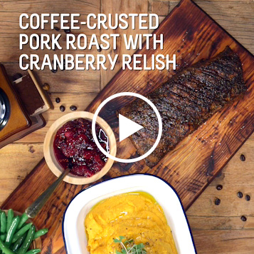 Coffee-Crusted Pork Roast with Cranberry Relish