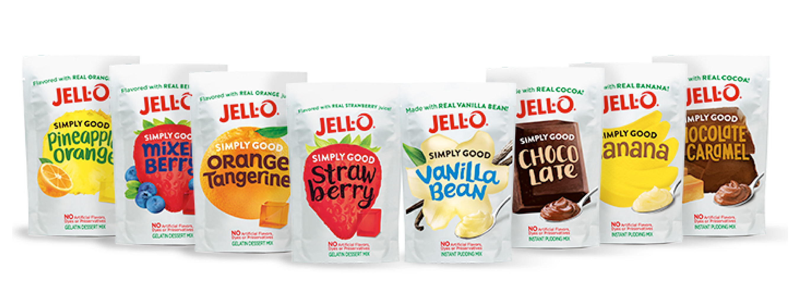 Made with real banana, cocoa and vanilla bean and flavored with real fruit juices. The full line of JELL-O SIMPLY GOOD contains no artificial dyes, flavors or preservatives.