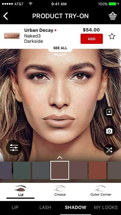 Virtually try on thousands of shades of eyeshadow with Sephora Virtual Artist.