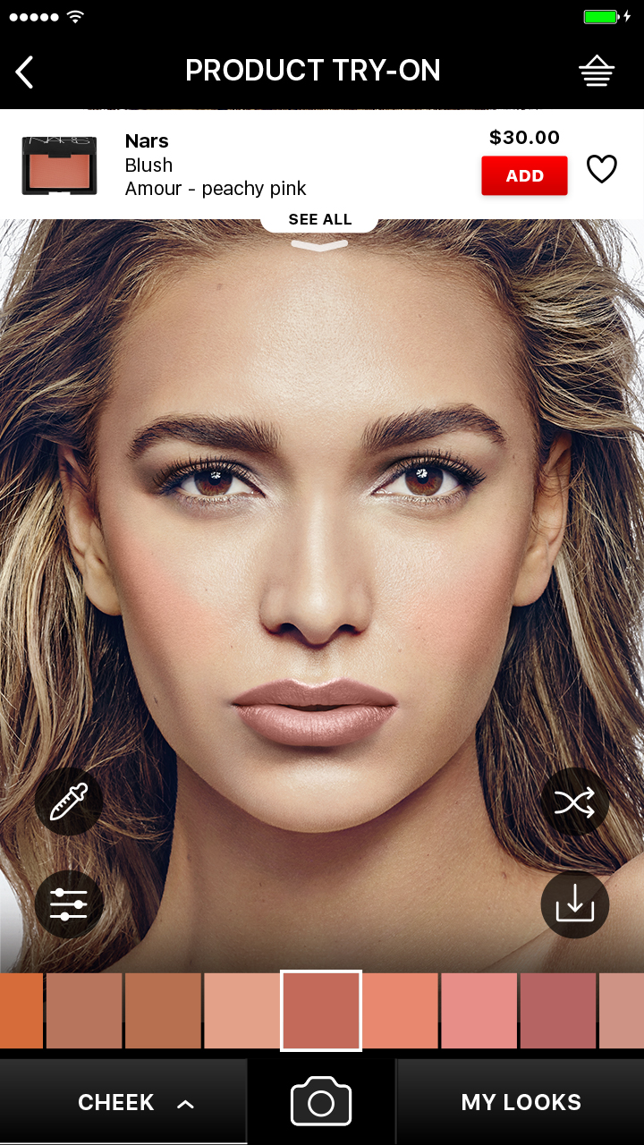 Try on over 1,000 blush, bronzer, contour, and highlighter shades, including single colors and palettes.
