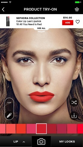 Sephora Virtual Artist can help you find the perfect shade from Sephora's entire assortment of lip, eyeshadow and cheek products, whether it's to match an outfit or to get the latest celebrity look from a magazine.