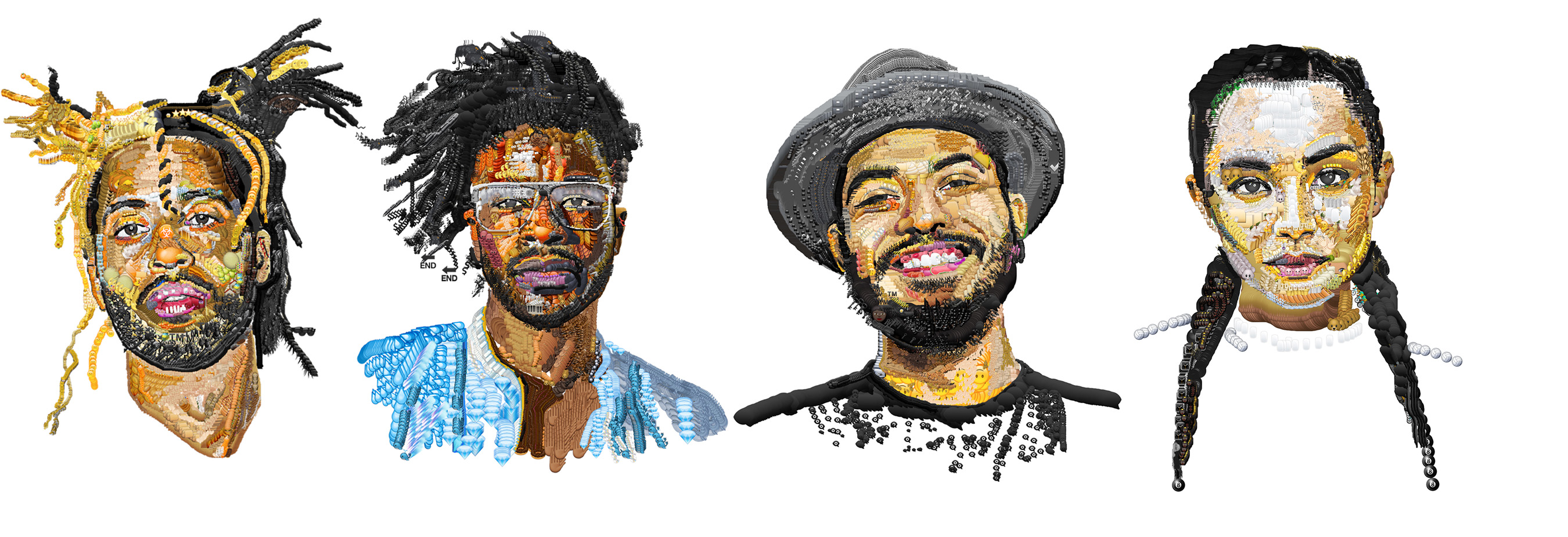 Visual Artist Yung Jake Emojifies LA's Emerging Talent for Street Campaign (from left to right: Mr. Carmack, Jesse Boykins III, Yung Jake, SOSUPERSAM)
