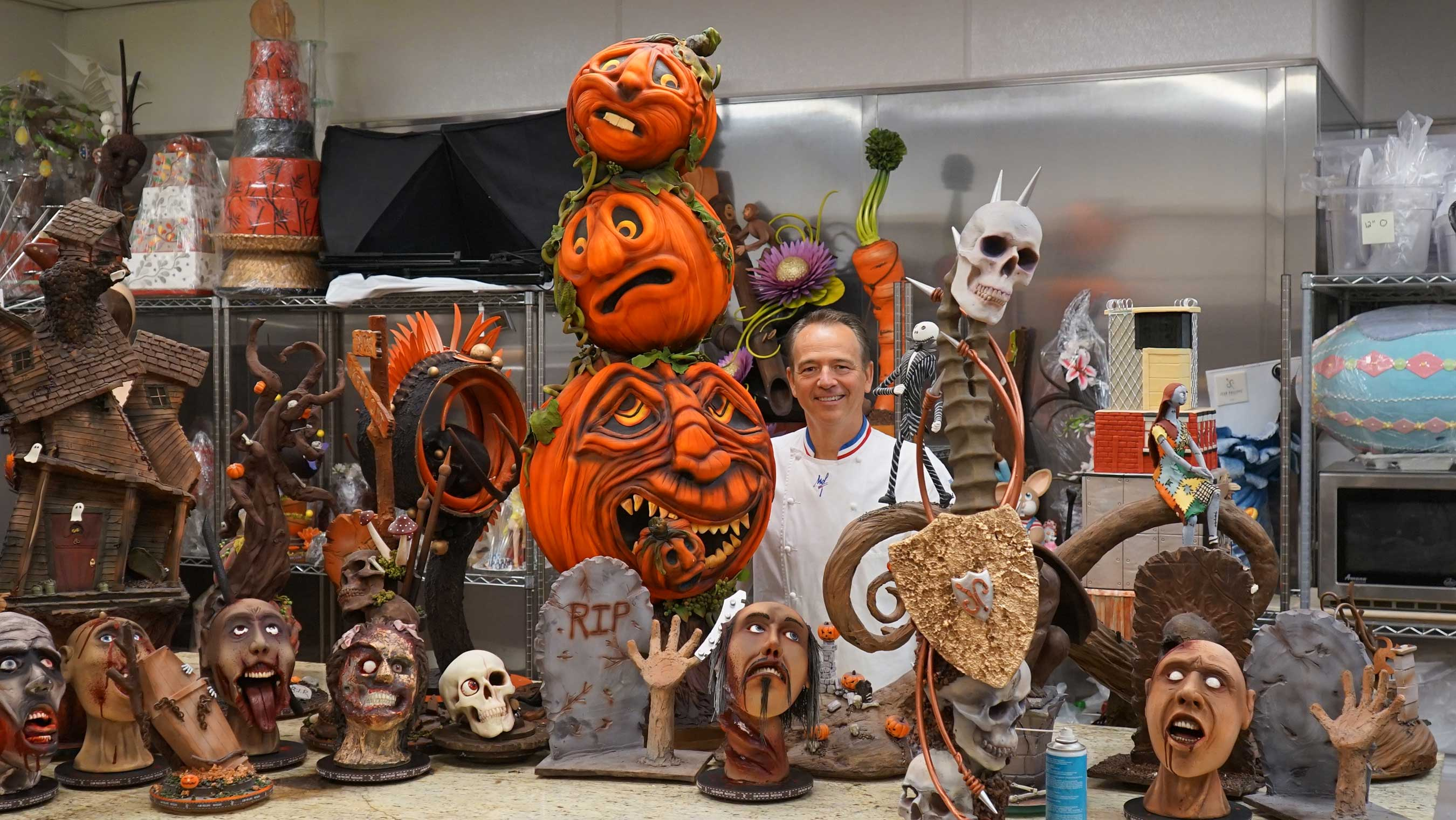 Jean Philippe Maury pictured with various Halloween showpieces