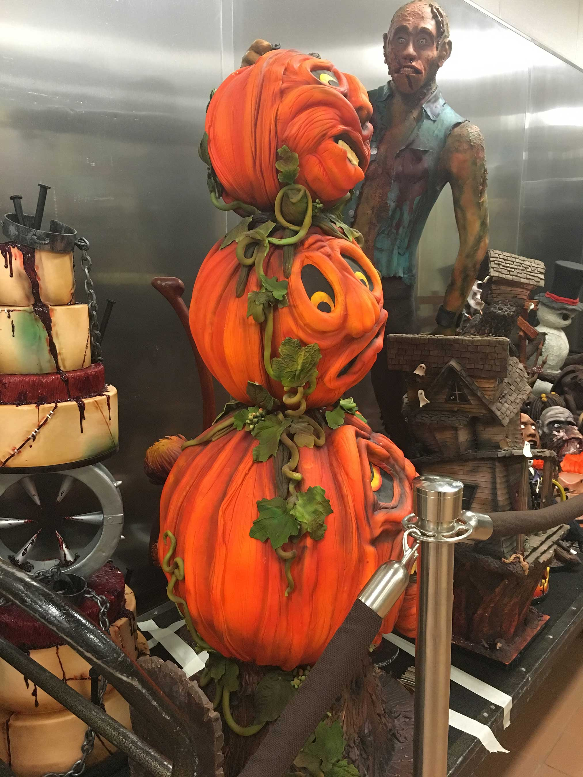A cake closely resembling human flesh, three-tiered spooky pumpkins and a six-foot-tall male zombie haunts guests at Jean Philippe Patisserie at ARIA