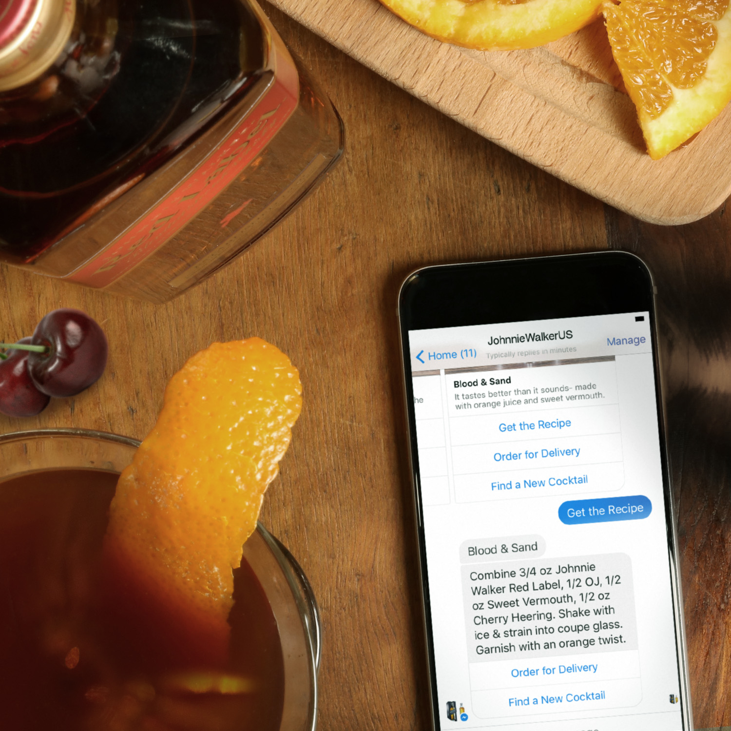 Within a few clicks on your smart phone, Johnnie Walker bot for Facebook Messengar is available for all of your whisky needs