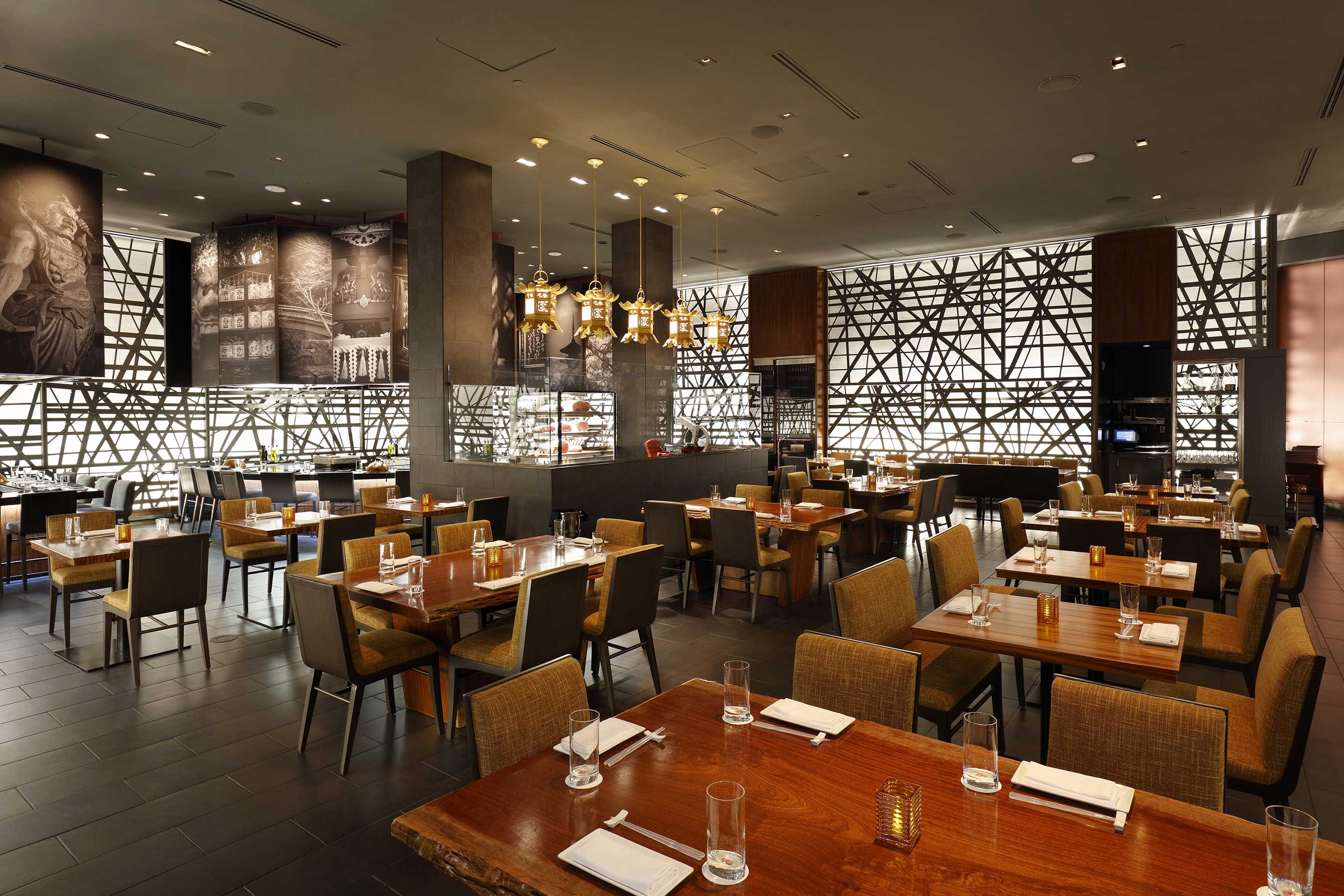 Diverse spaces with colorful Japanese artwork and compelling design elements provide guests with a serene atmosphere to savor Chef Morimoto's cuisine.