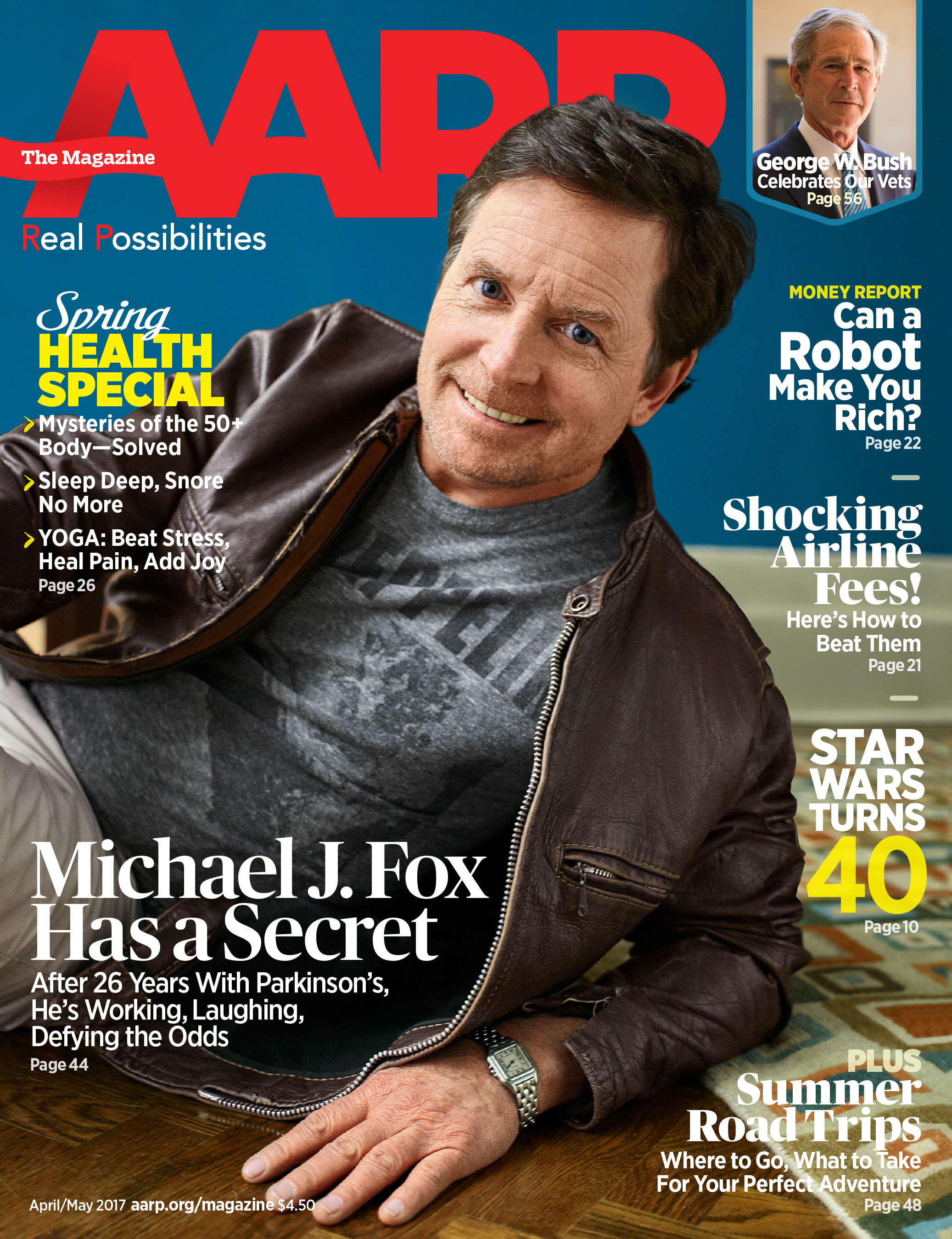 Michael J. Fox on the cover of AARP The Magazine.