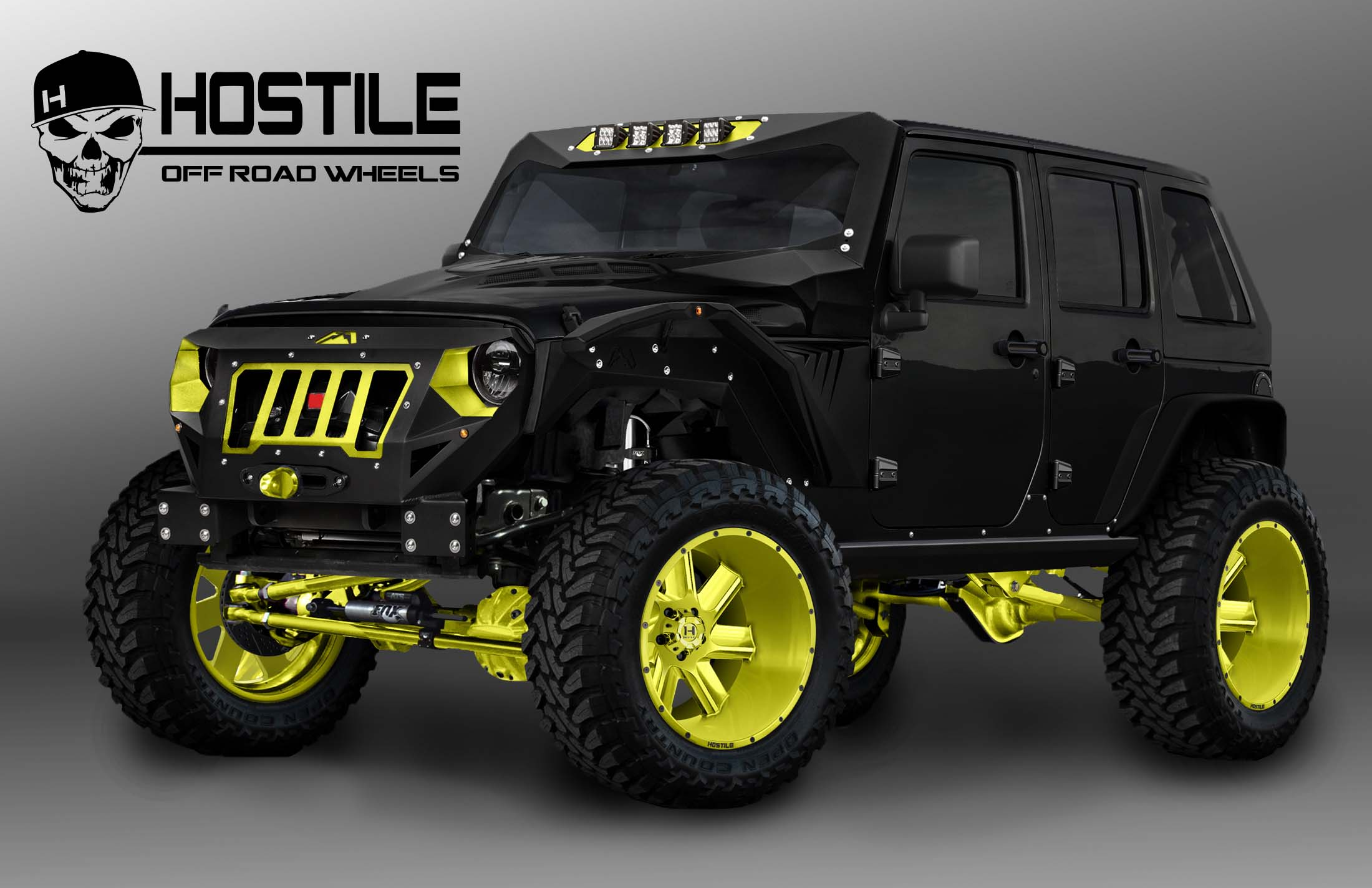 An extreme version of this 2016 Jeep Wrangler, shown with Hostile 20x12 Sprocket Wheels mounted on x15.50R20 MT Toyo tires, can be seen at SEMA Booth #47037 in the Hostile display.