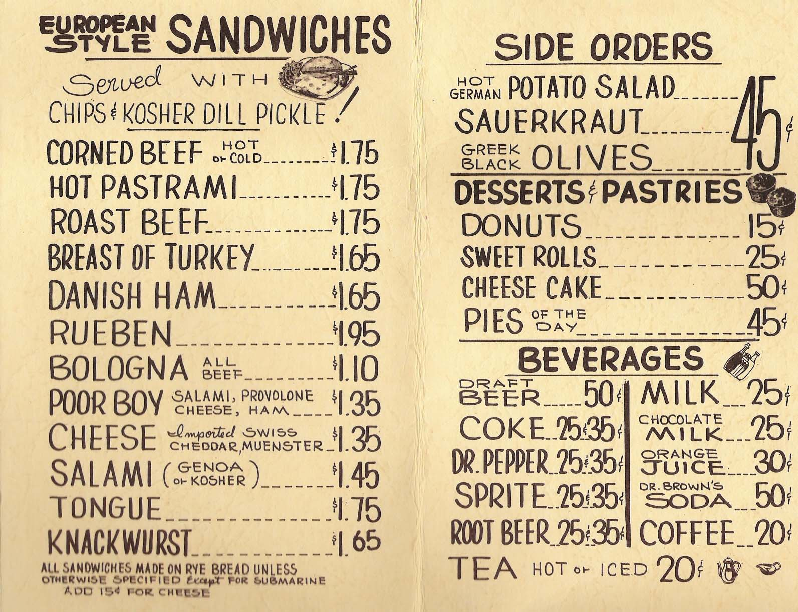 Jason's Deli 1976 Menu