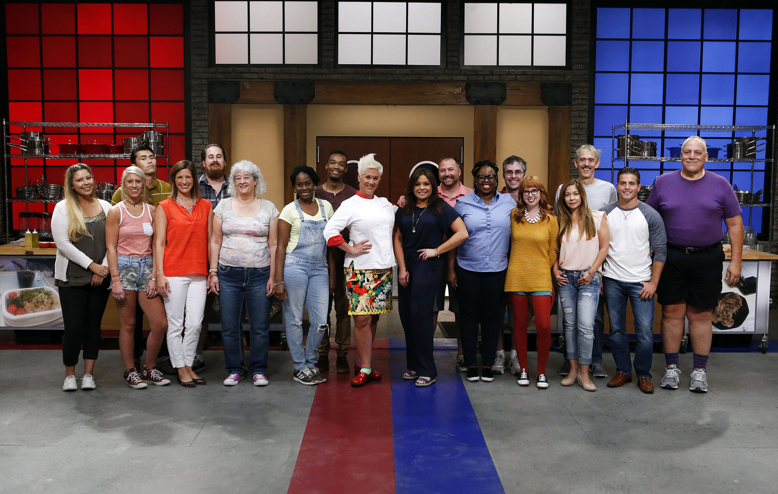 Mentors Anne Burrell and Rachael Ray with the contestants on Food Network's Worst Cooks in America