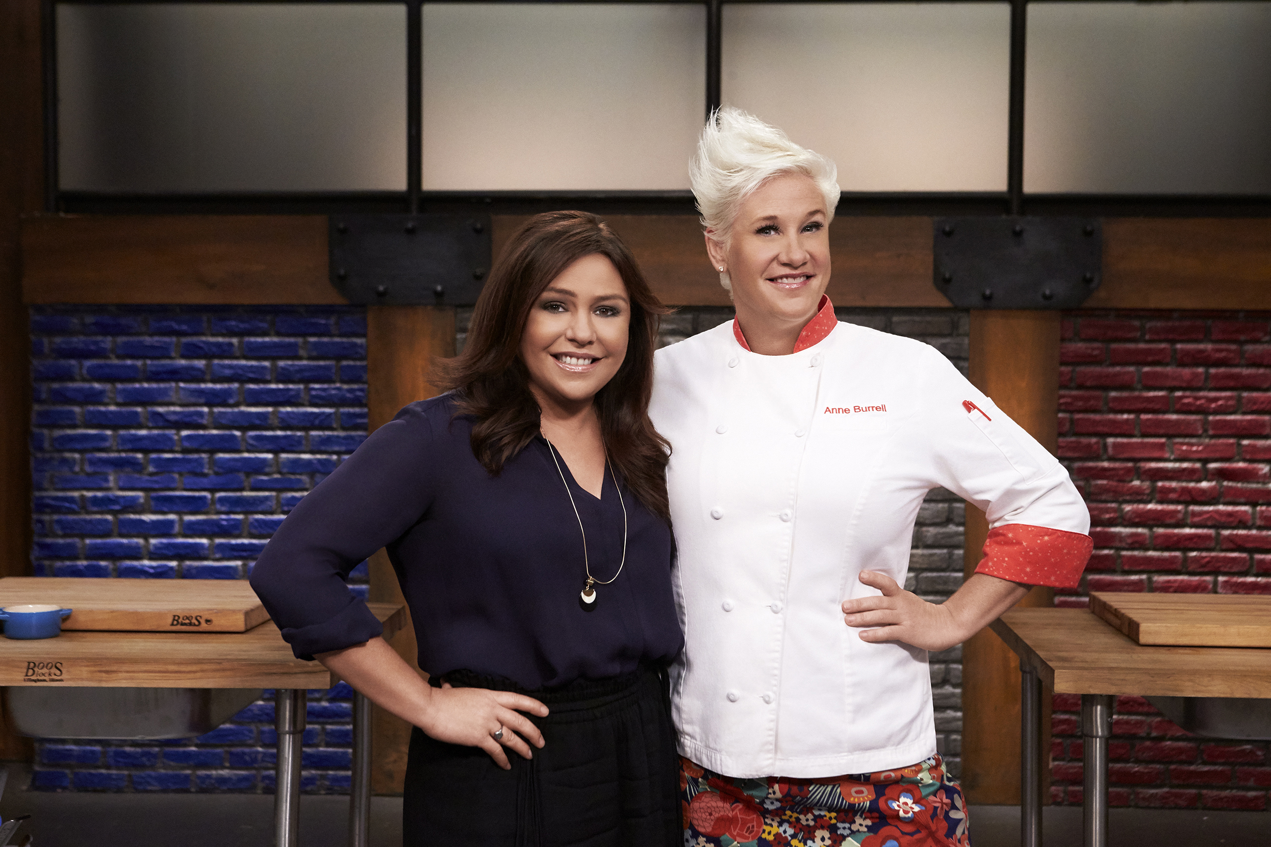 Mentors Rachael Ray and Anne Burrell on Food Network's Worst Cooks in America