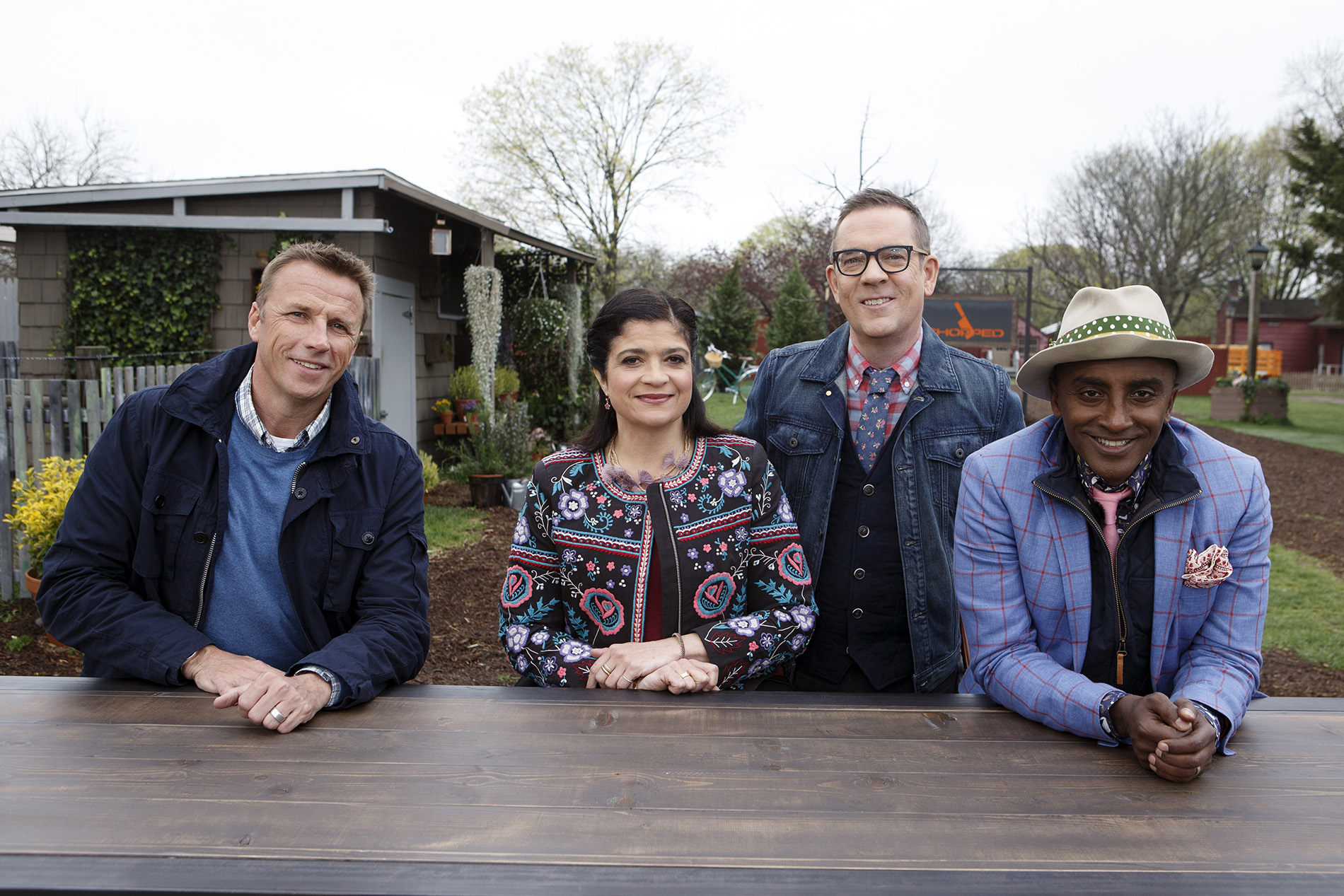 Judges Marc Murphy, Alex Guarnaschelli and Marcus Samuelsson with host Ted Allen on Chopped Grill Masters