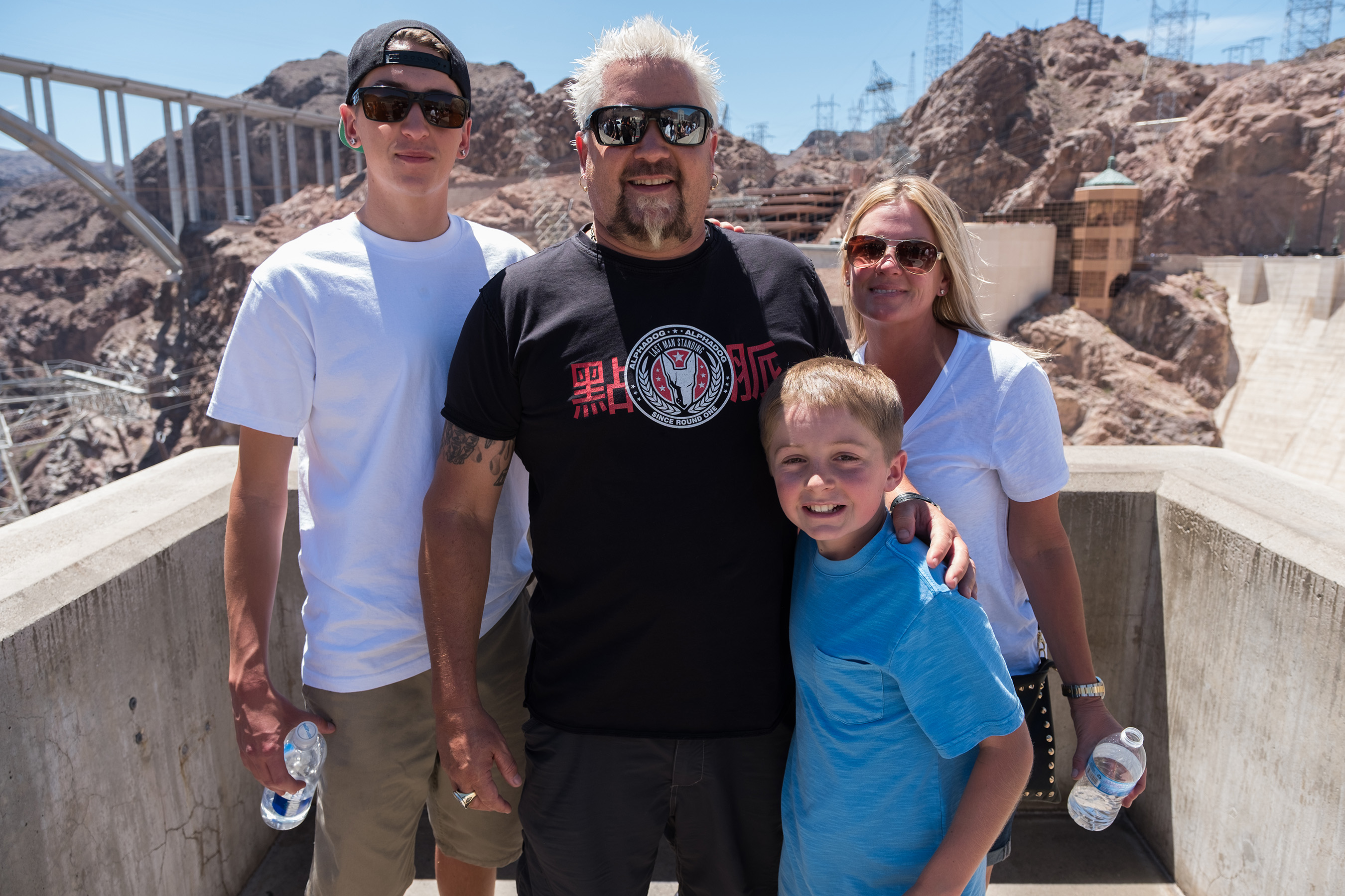 Hunter, Guy, Ryder and Lori on Food Network's Guy's Family Road Trip