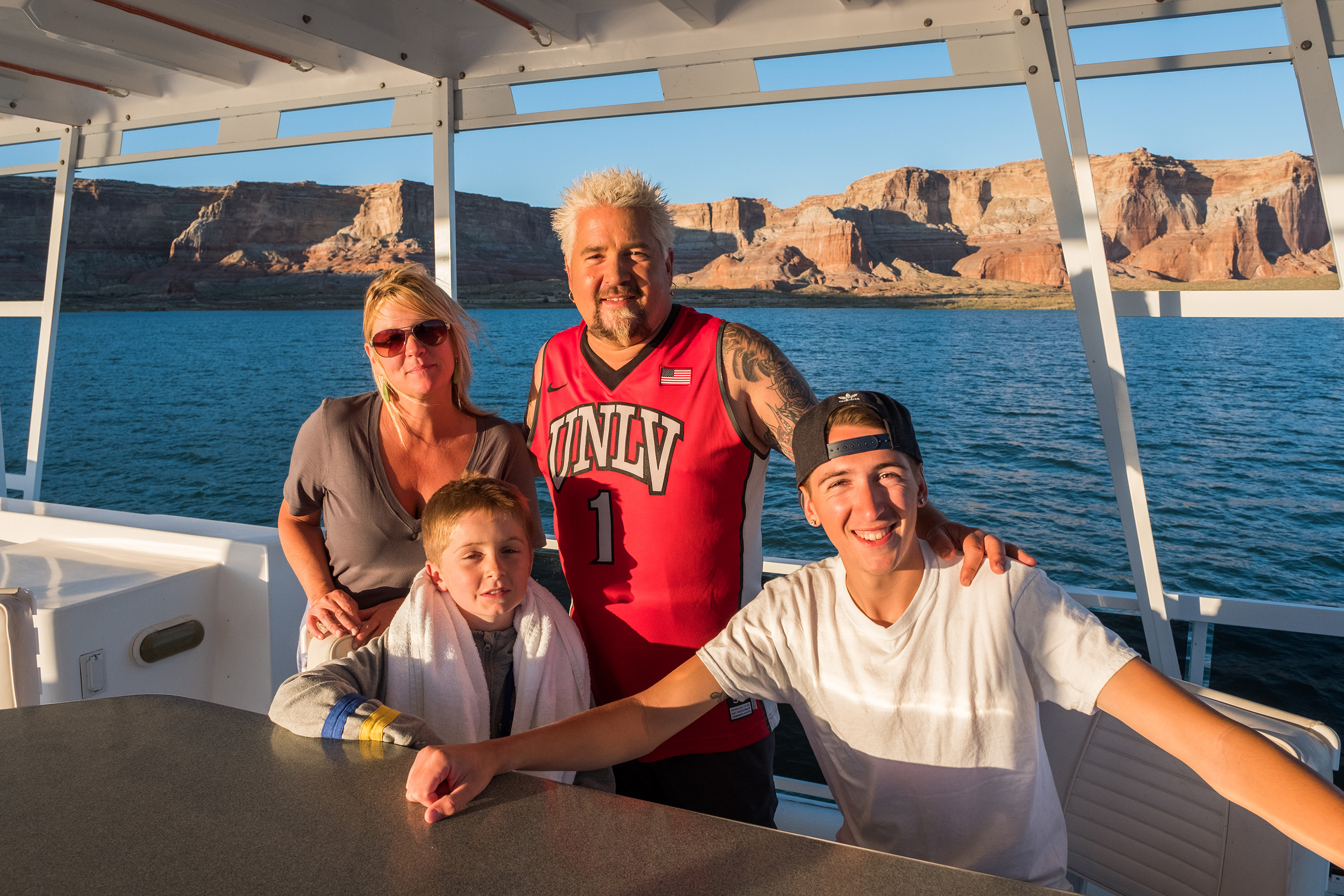Lori, Ryder, Guy, and Hunter Fieri enjoy the boat on Lake Mead on Guy's Family Road Trip